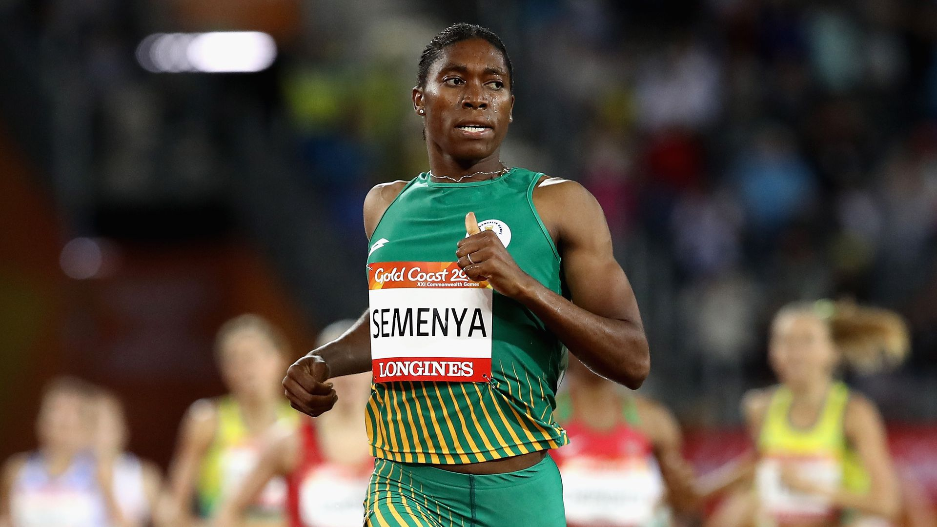Caster Semenya of South Africa wins gold in the Women's 1500 metres final at the Gold Coast 2018 Commonwealth Games at Carrara Stadium on April 10, 2018.