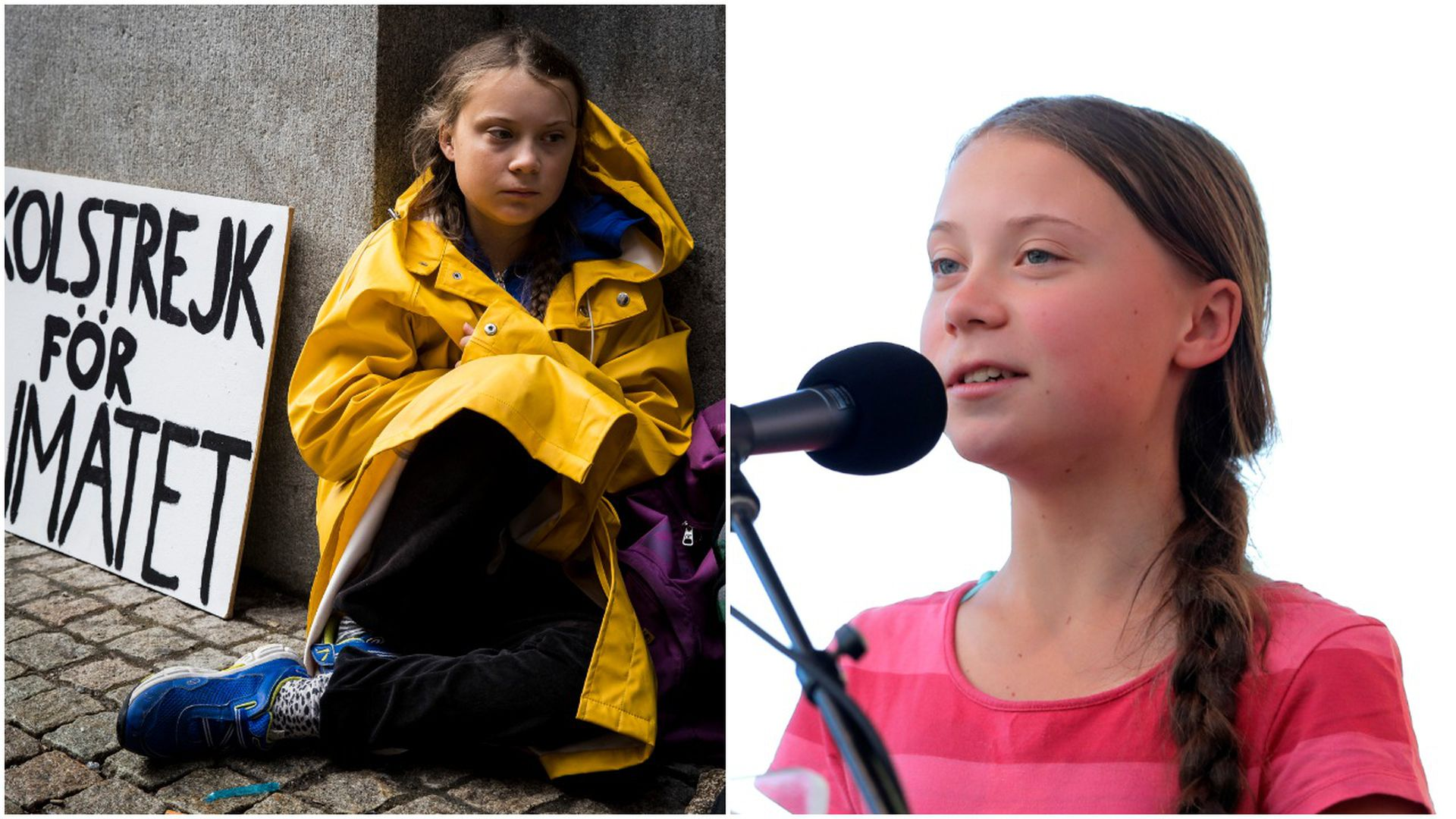 This image is a two-way screen of Greta Thunberg sitting in a yellow raincoat and Greta speaking into a microphone.