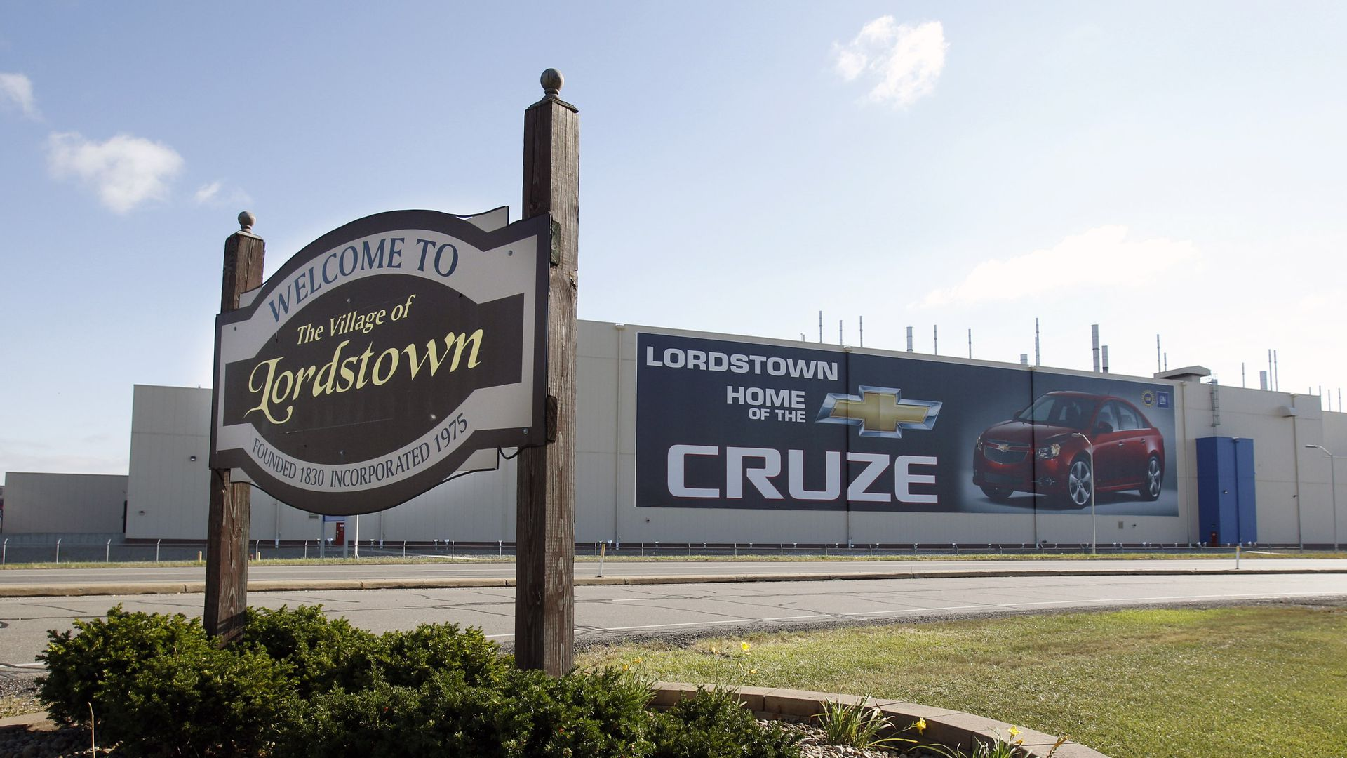 A welcome sign to Lordstown, Ohio, where the Chevy Cruz is manufactured.