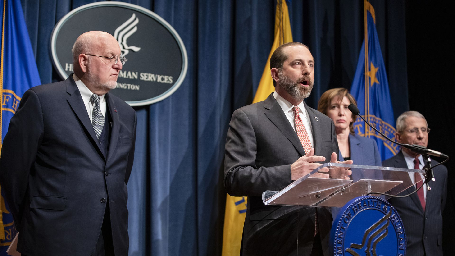 HHS Secretary Alex Azar and 3 other public health officials at the news briefing