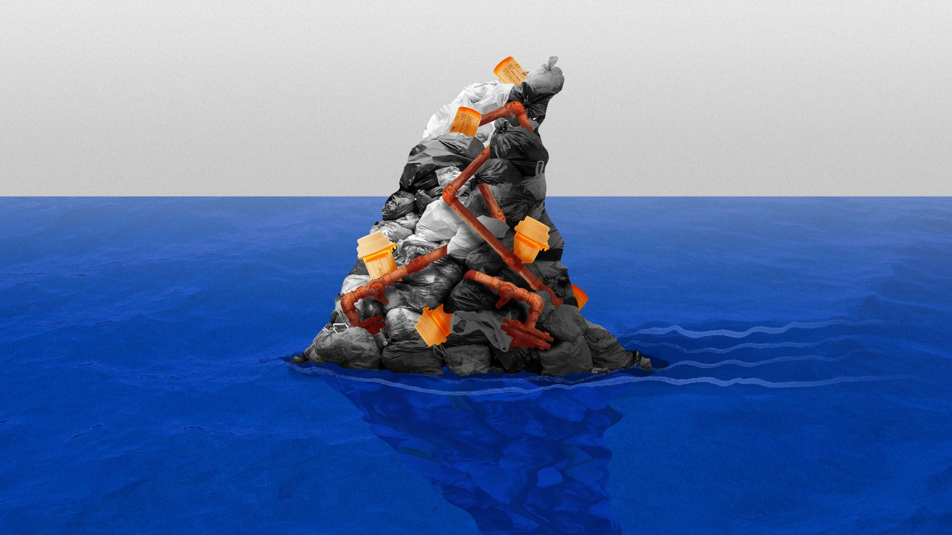Illustration of a shark fin made out of contaminants including pill bottles, garbage, and rusty pipes