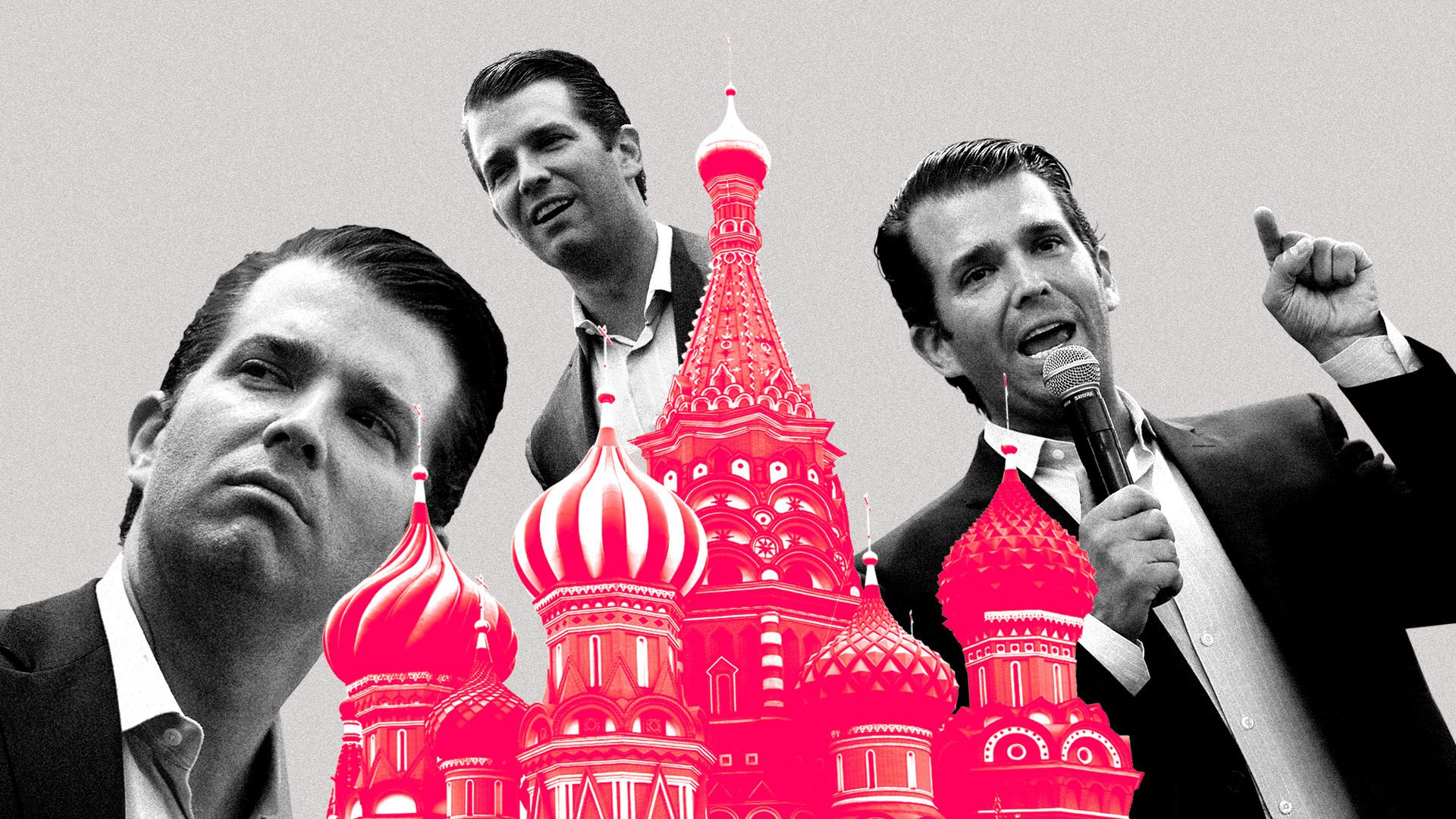 Illustration of multiple Donald Trump Jr's around the Kremlin