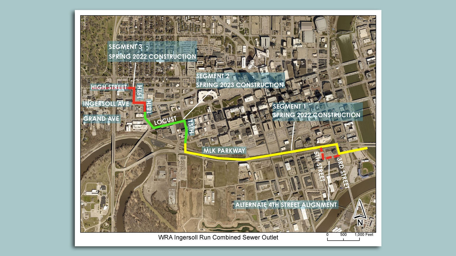 A map showing the Ingersoll Run sewer separation project in downtown Des Moines.