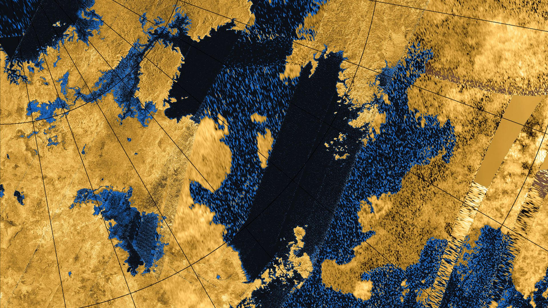 An image mosaic of Titan's northern hemisphere from NASA's Cassini mission.