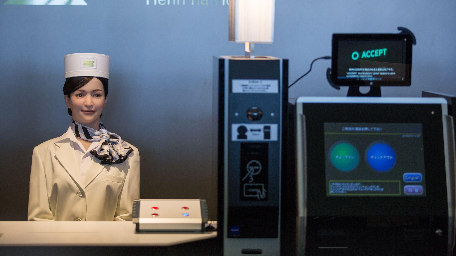 A humanoid robot at the Henna Hotel (Weird Hotel) in Huis Ten Bosch, Netherlands.