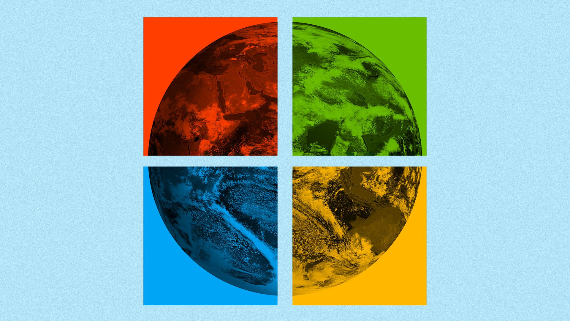 Illustration of the Microsoft logo splitting the earth into four sections