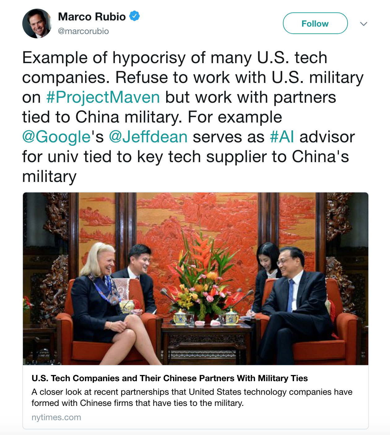 Screenshot from Sen. Marco Rubio's tweet showing his anger at U.S. tech's relationship with China's university