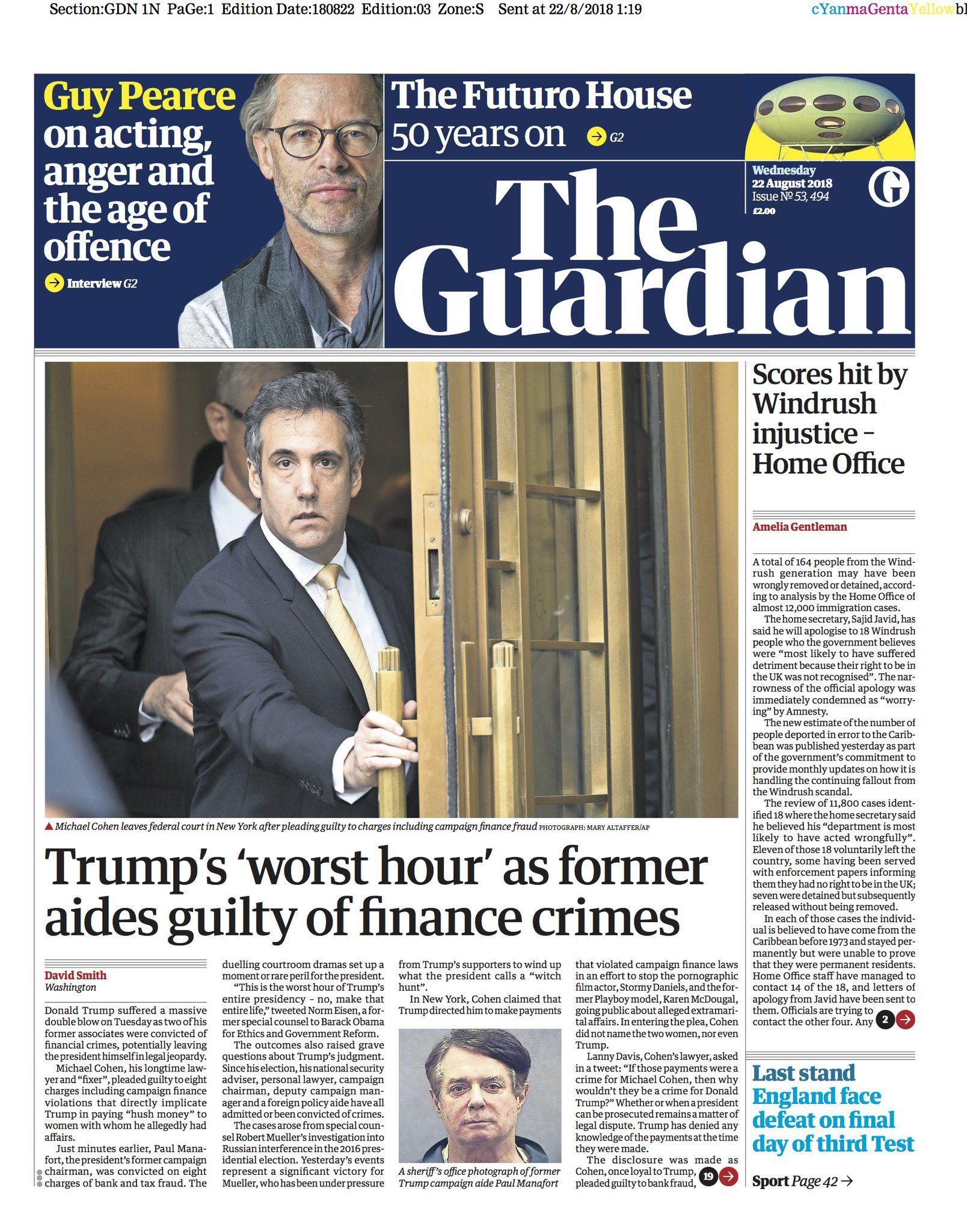 Go deeper: Newspapers react to Michael Cohen plea, Paul