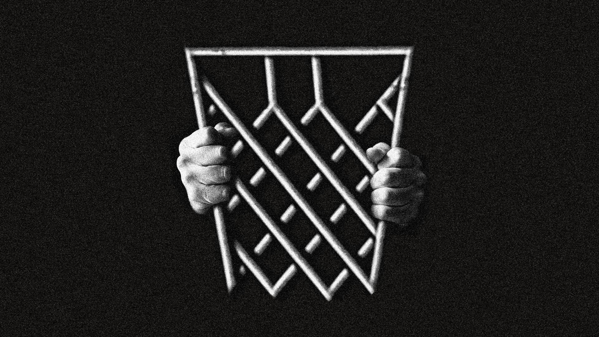 This illustration shows a metal basketball hoop being held like jail bars by two hands.