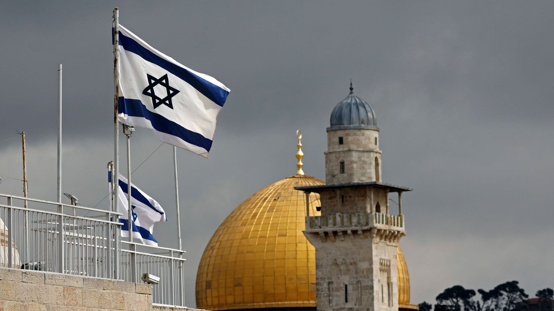 Israeli flags flutter in front of the Dome of the Rock in the Jerusalem's Old City, on February 19, 2019.
