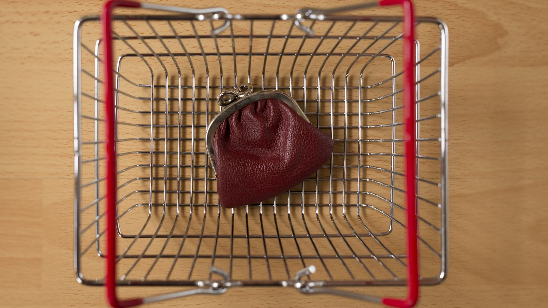 Coin purse in an empty basket