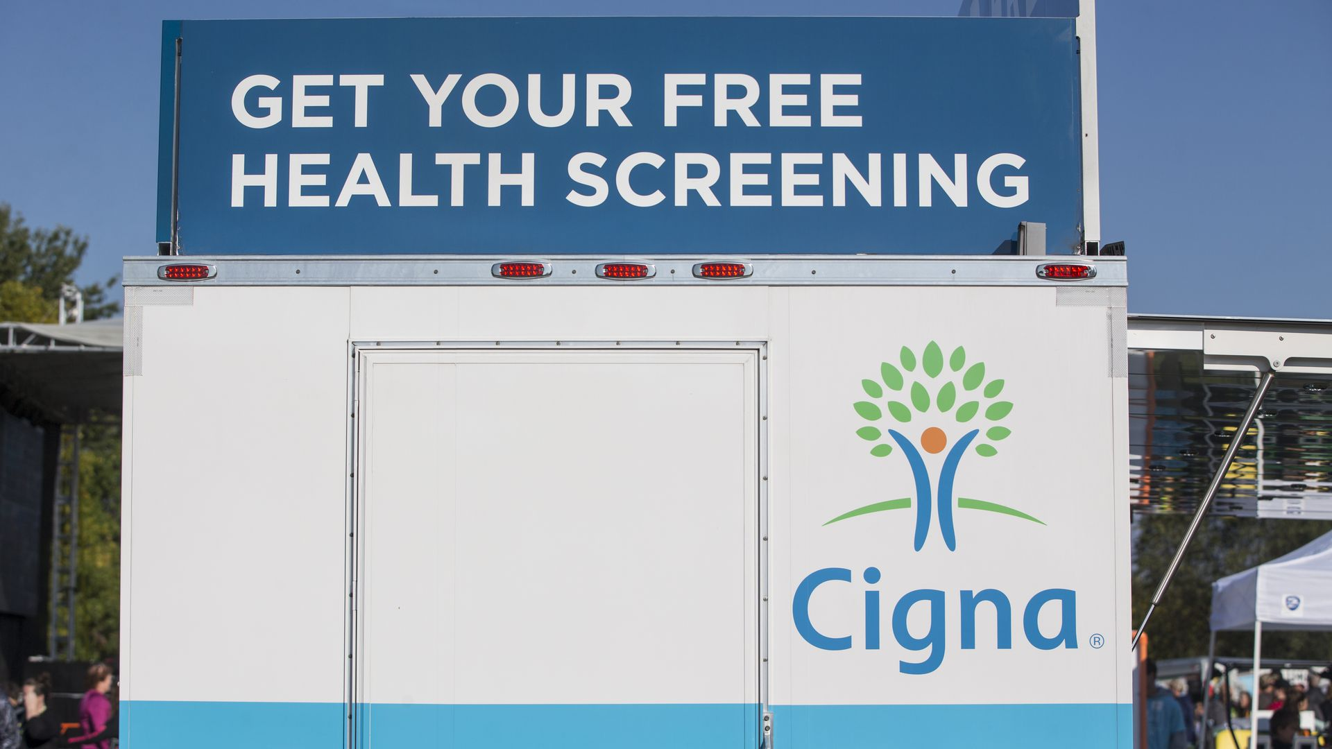 A Cigna cart promoting health screenings.