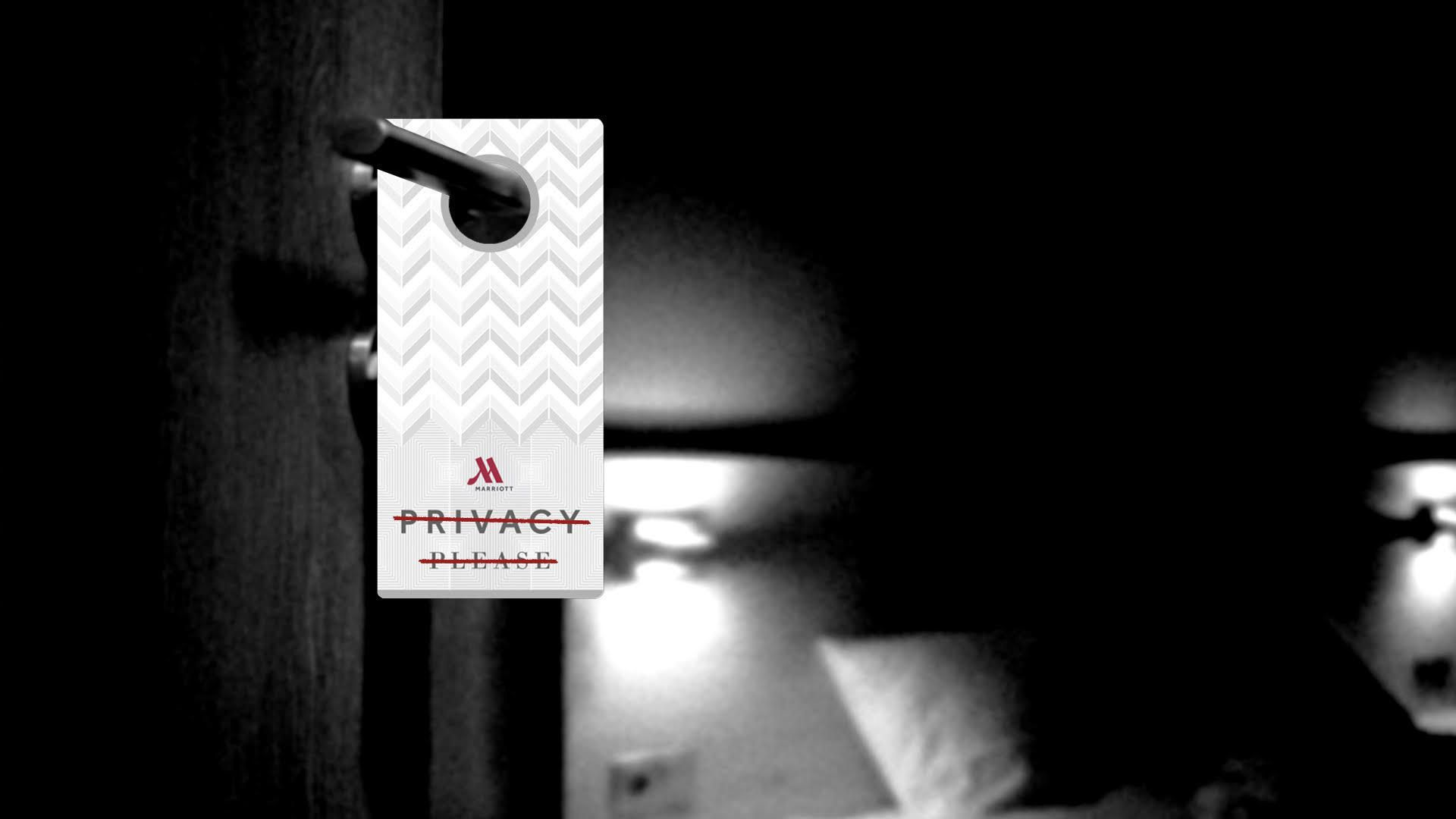 Illustration of a Marriott privacy please door hanger with the words crossed out