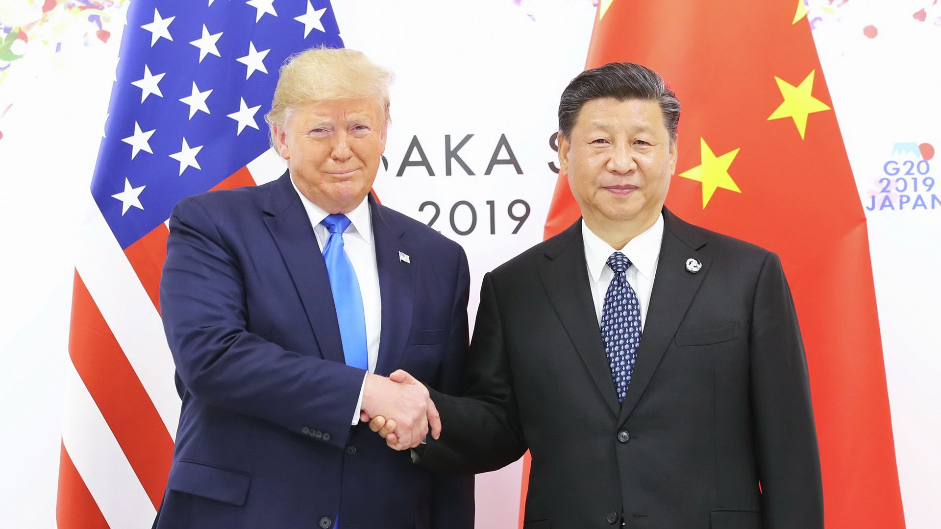 Photograph of Chinese President Xi Jinping meeting with U.S. President Donald Trump in Osaka, Japan, on June 29, 2019