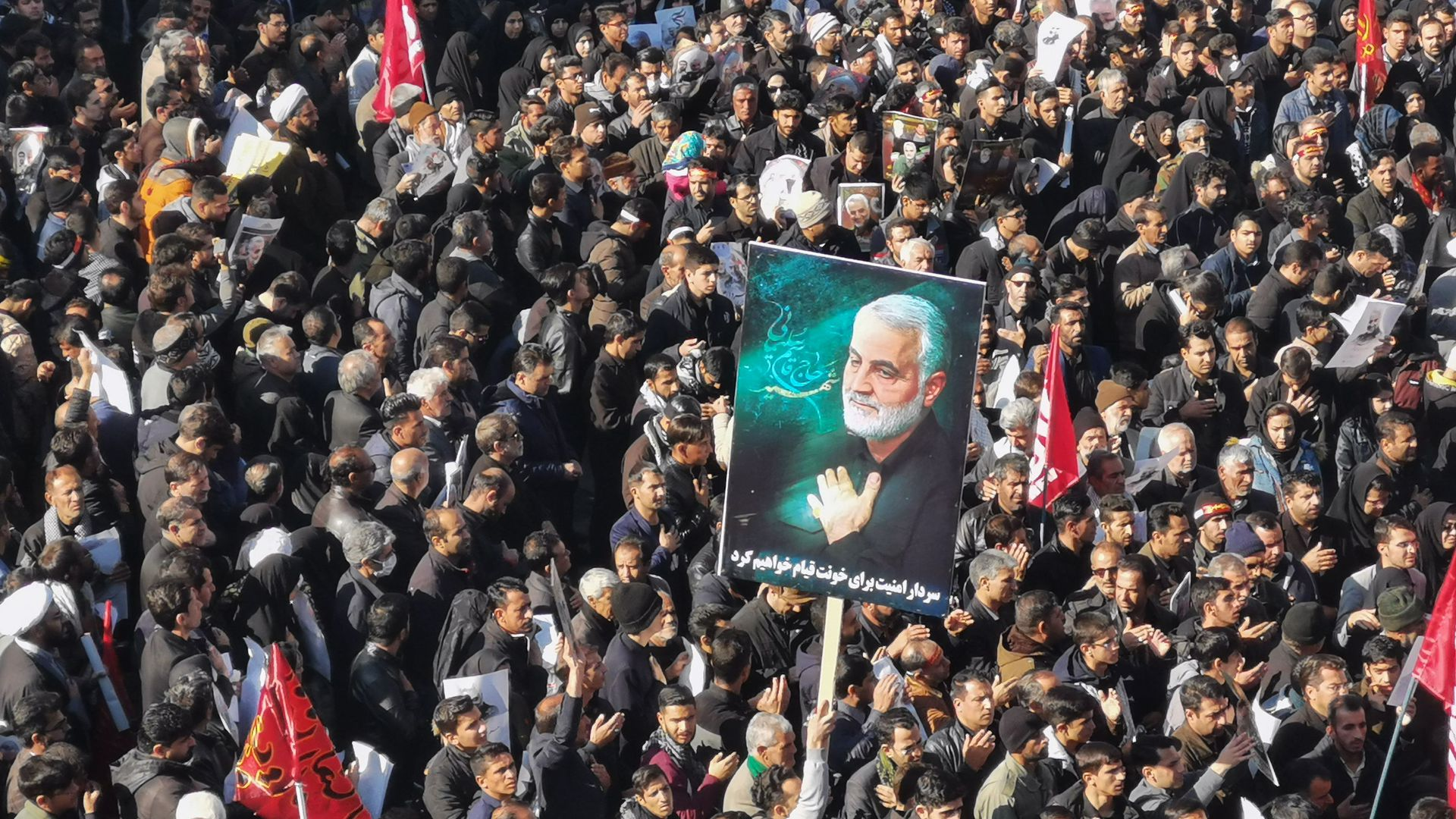 Iranian mourners gather for the burial of slain top general Qasem Soleimani in his hometown Kerman on January 7