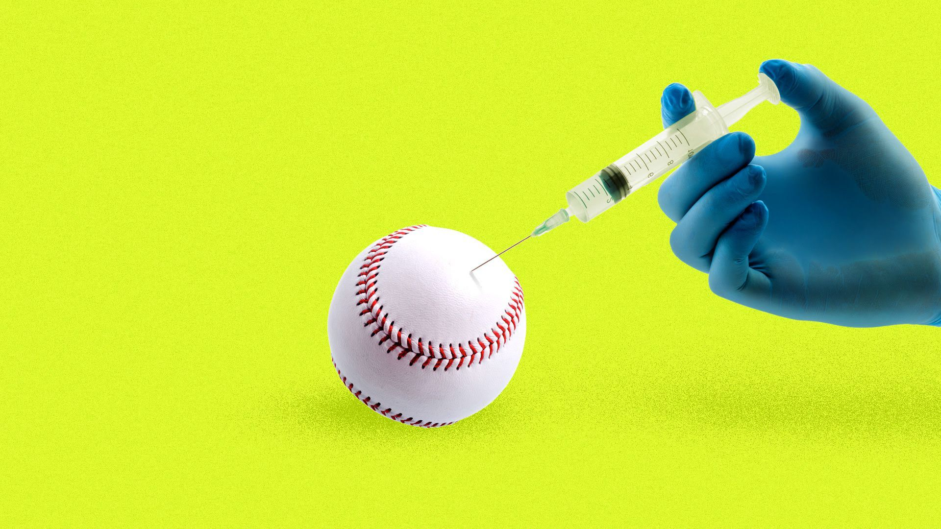 A baseball being injected with a serum