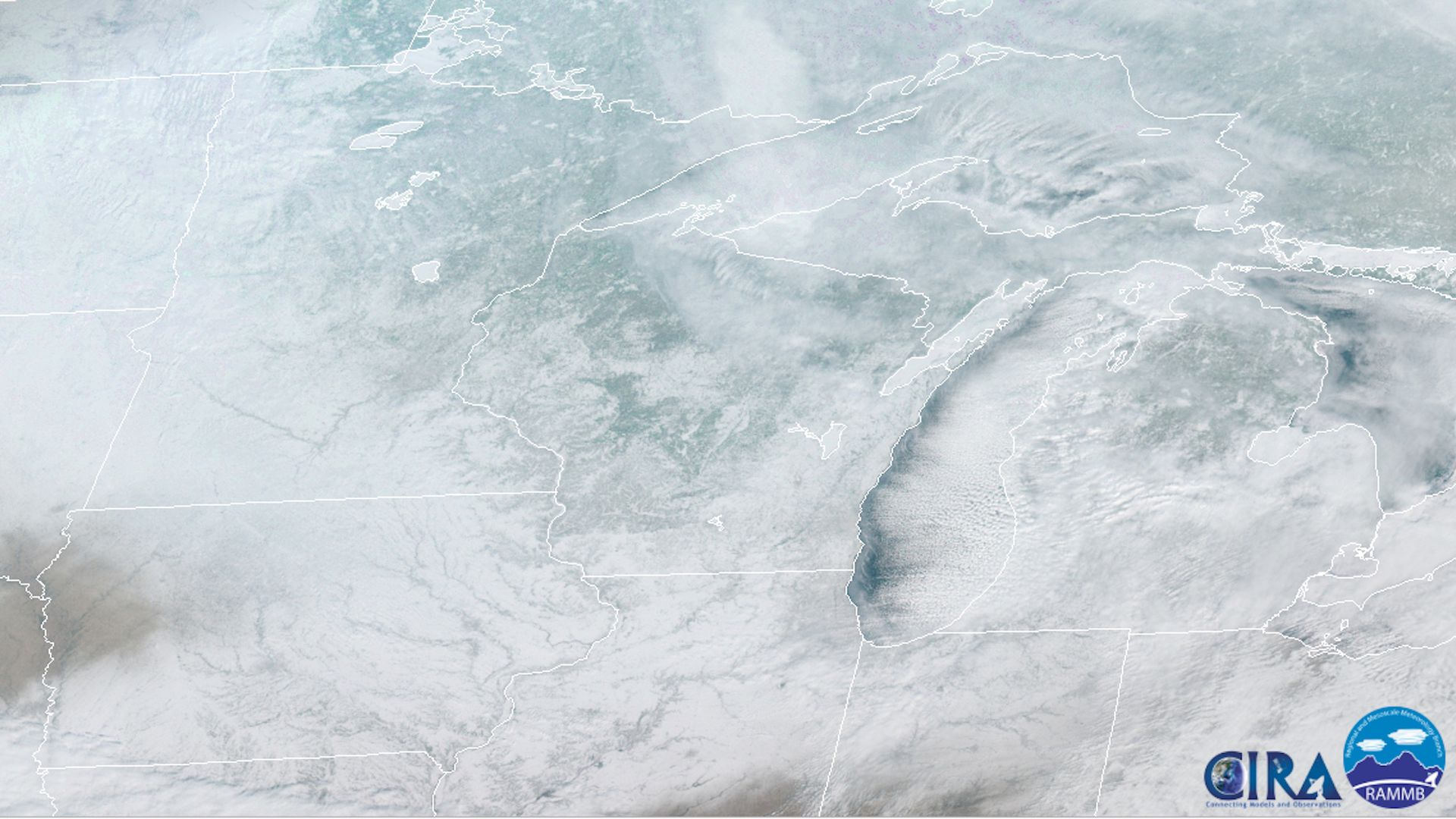 The frozen Midwest as seen from space.