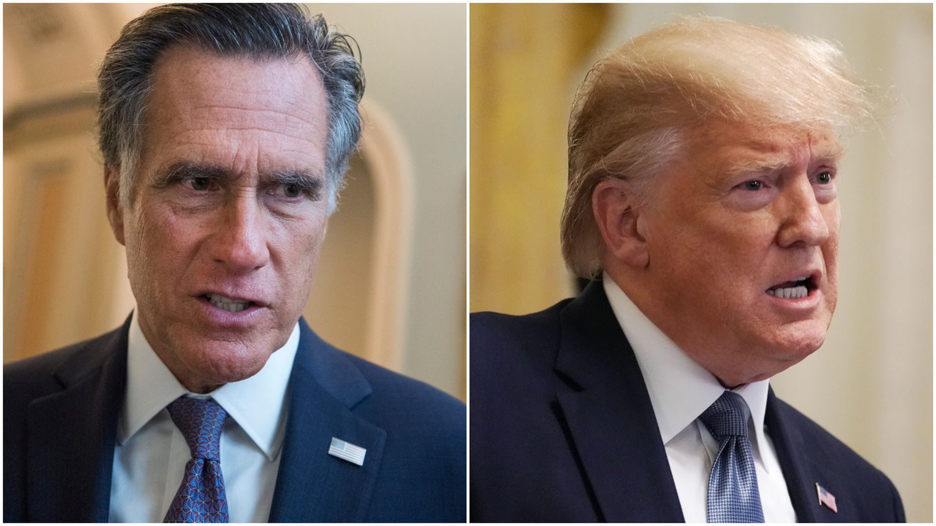 This image is a split screen between Romney and Trump