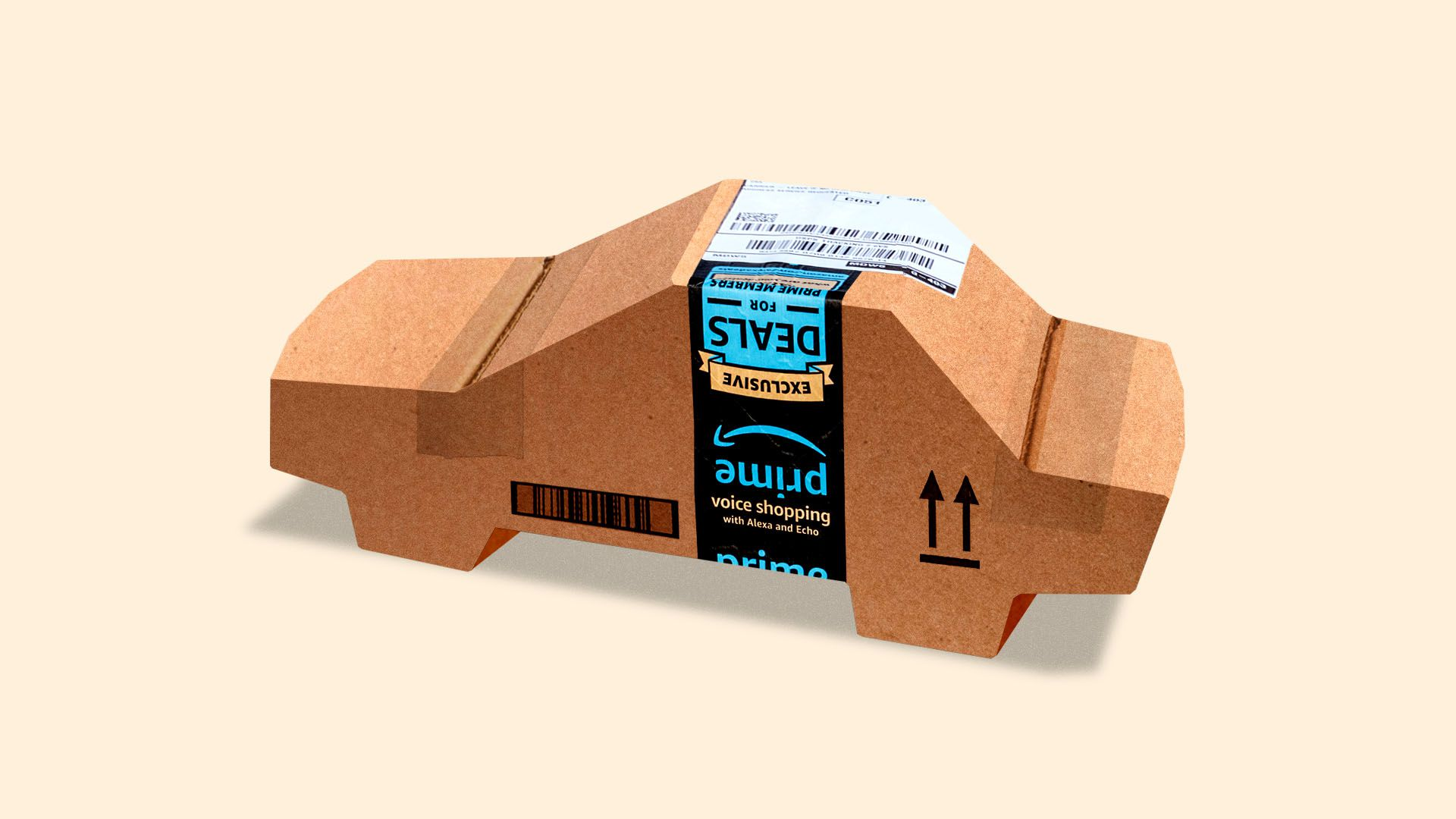 In this illustration, a cardboard Amazon delivery box is fashioned into the shape of a car.