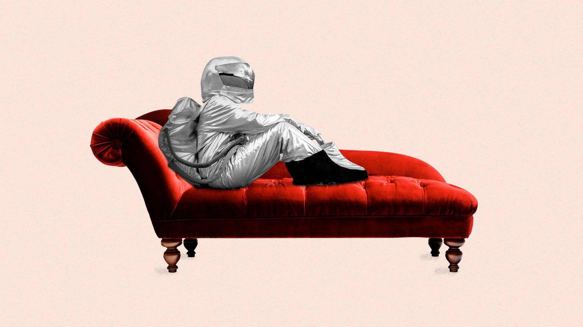 Illustration of an astronaut seated on a therapist couch.