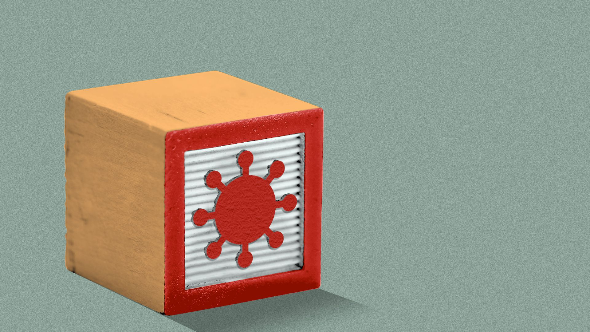 Illustration of a kids' building block toy with a covid particle on the side.