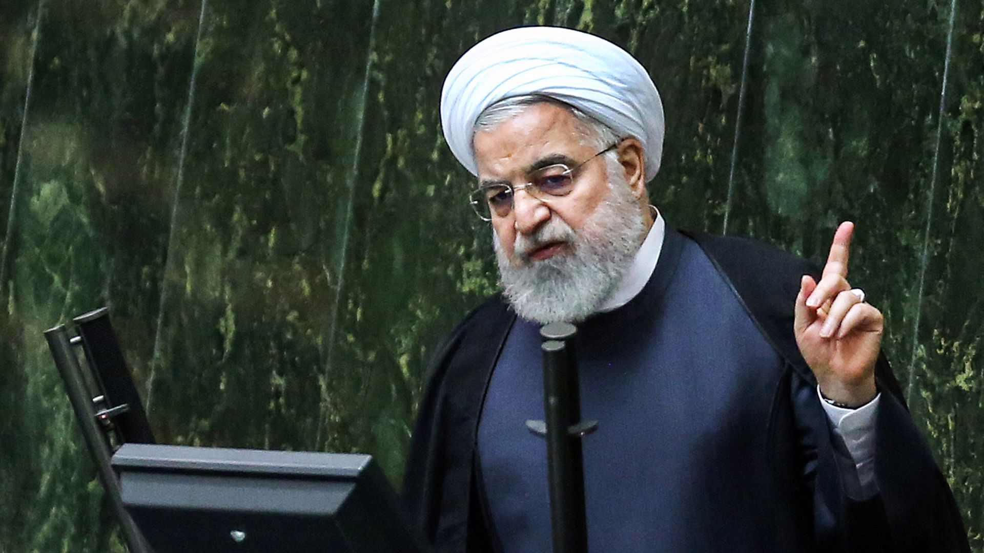 Iran's President Hassan Rouhani speaks at parliament in the capital Tehran on September 3