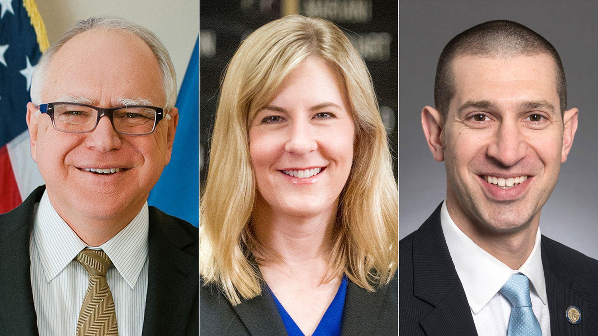 Three side-by-side headshots of Minnesota Gov. Tim Walz, State House Speaker Melissa Hortman and State Senate Majority Leader Jeremy Miller.