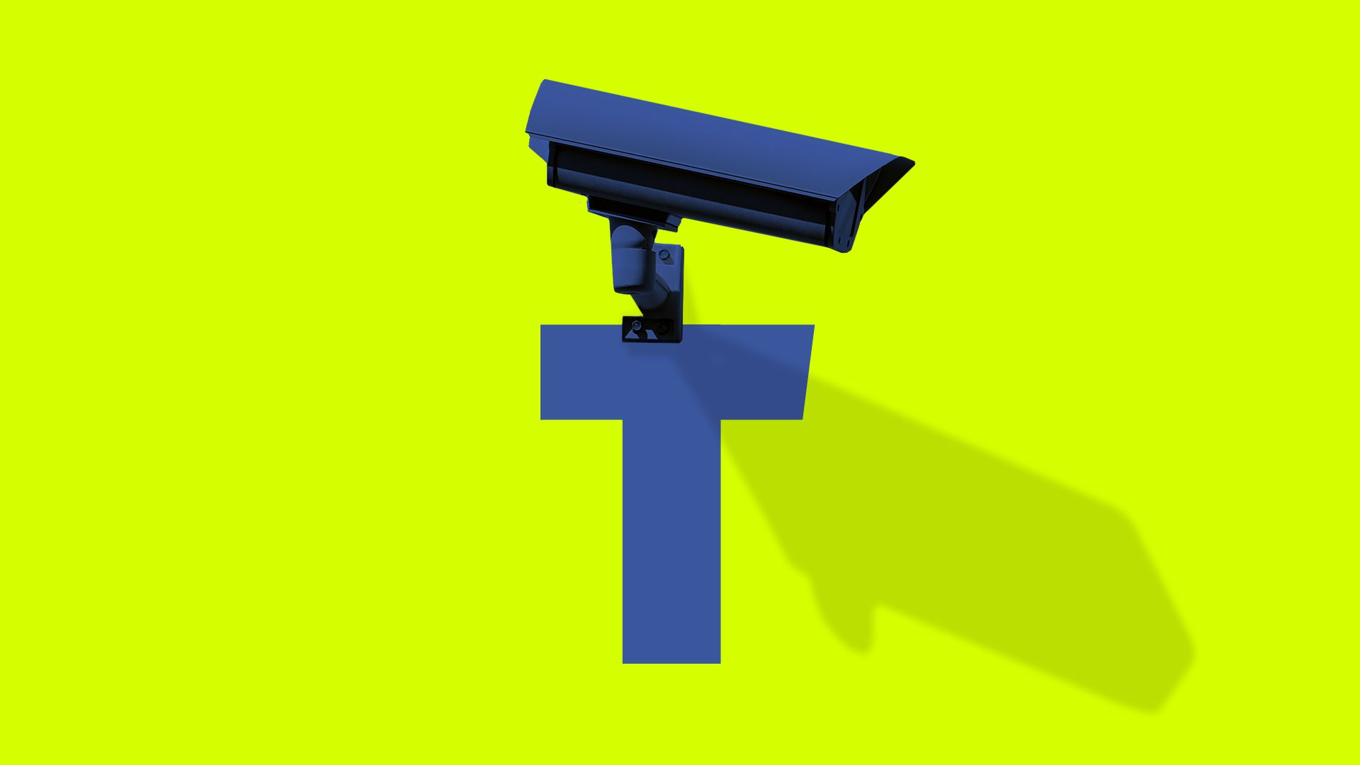 Illustration of Facebook's F brand with the top of the F as a surveillance camera