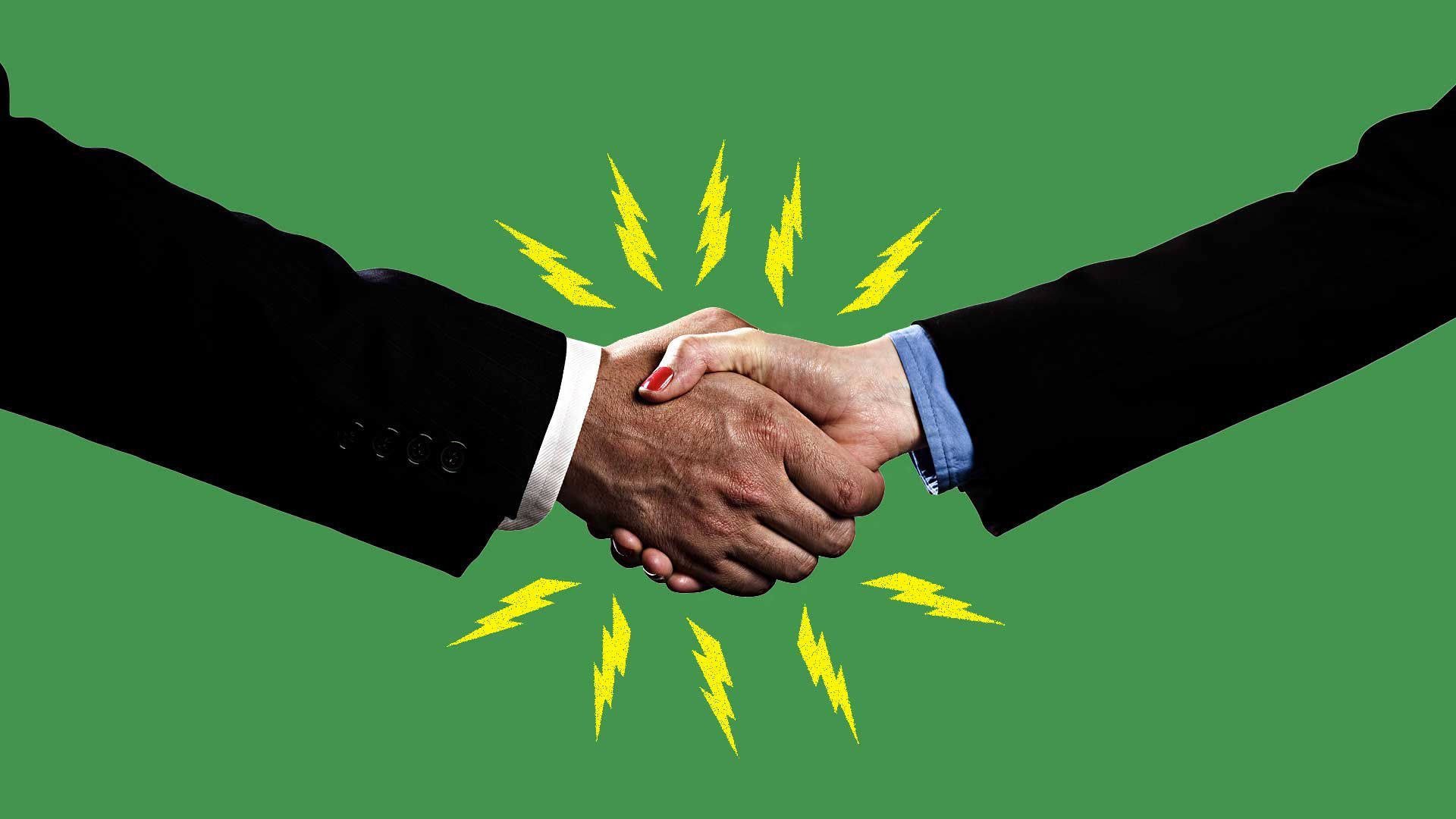 A handshake emitting electrical sparks