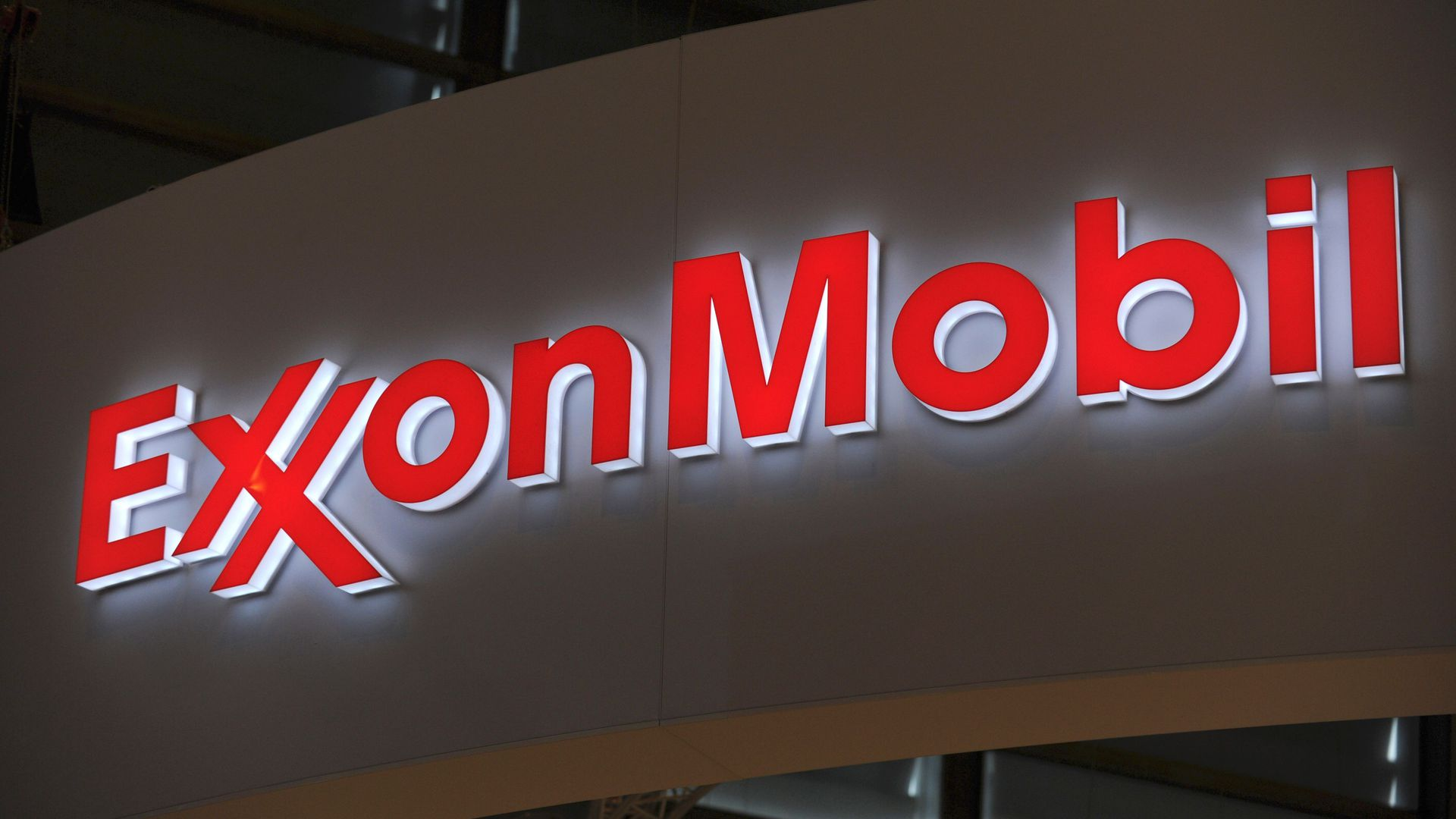 ExxonMobil sign lit up in the dark