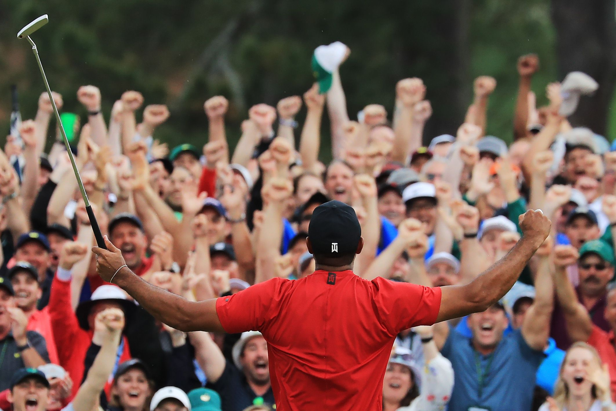 Tiger celebrating with the crowd
