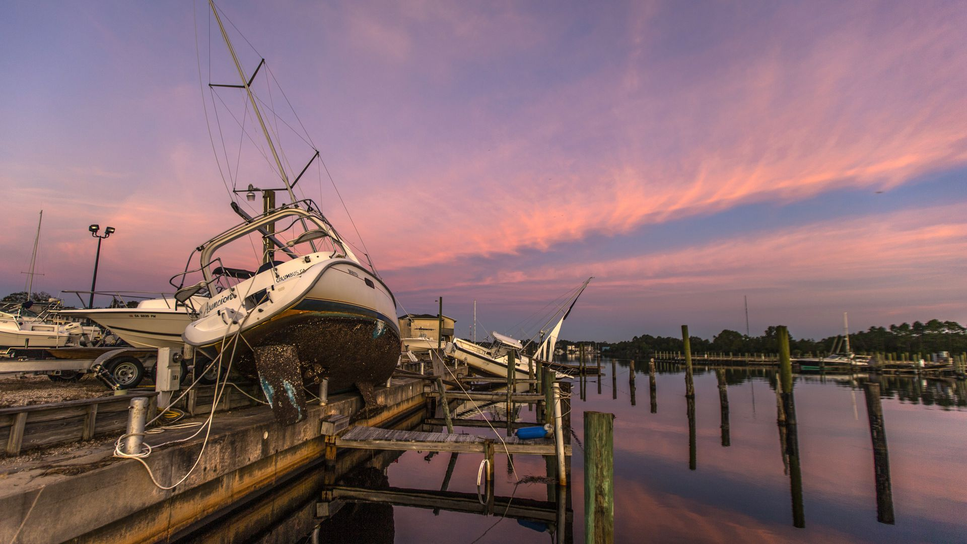 Boats damaged by Hurricane Michael