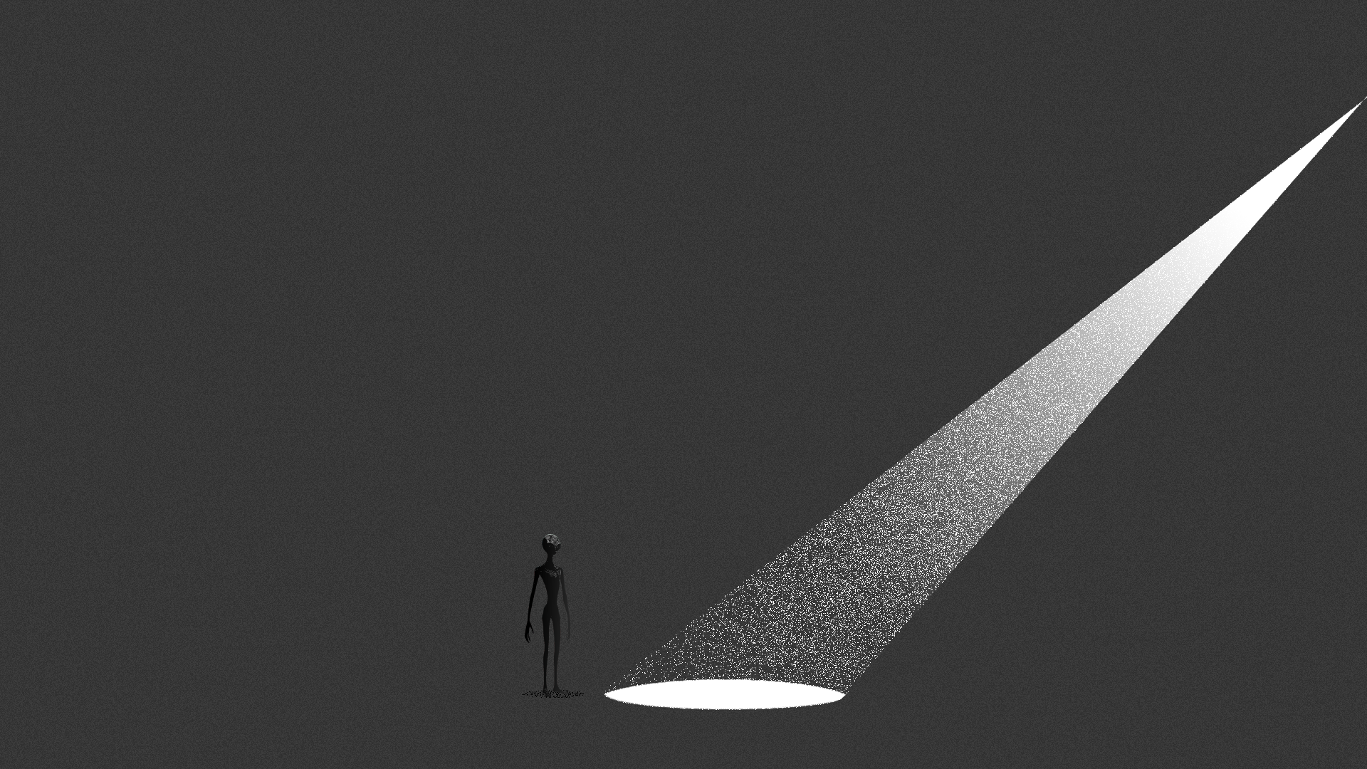 Illustration of a small spotlight lighting an empty area, a small alien is off to the side of the light.