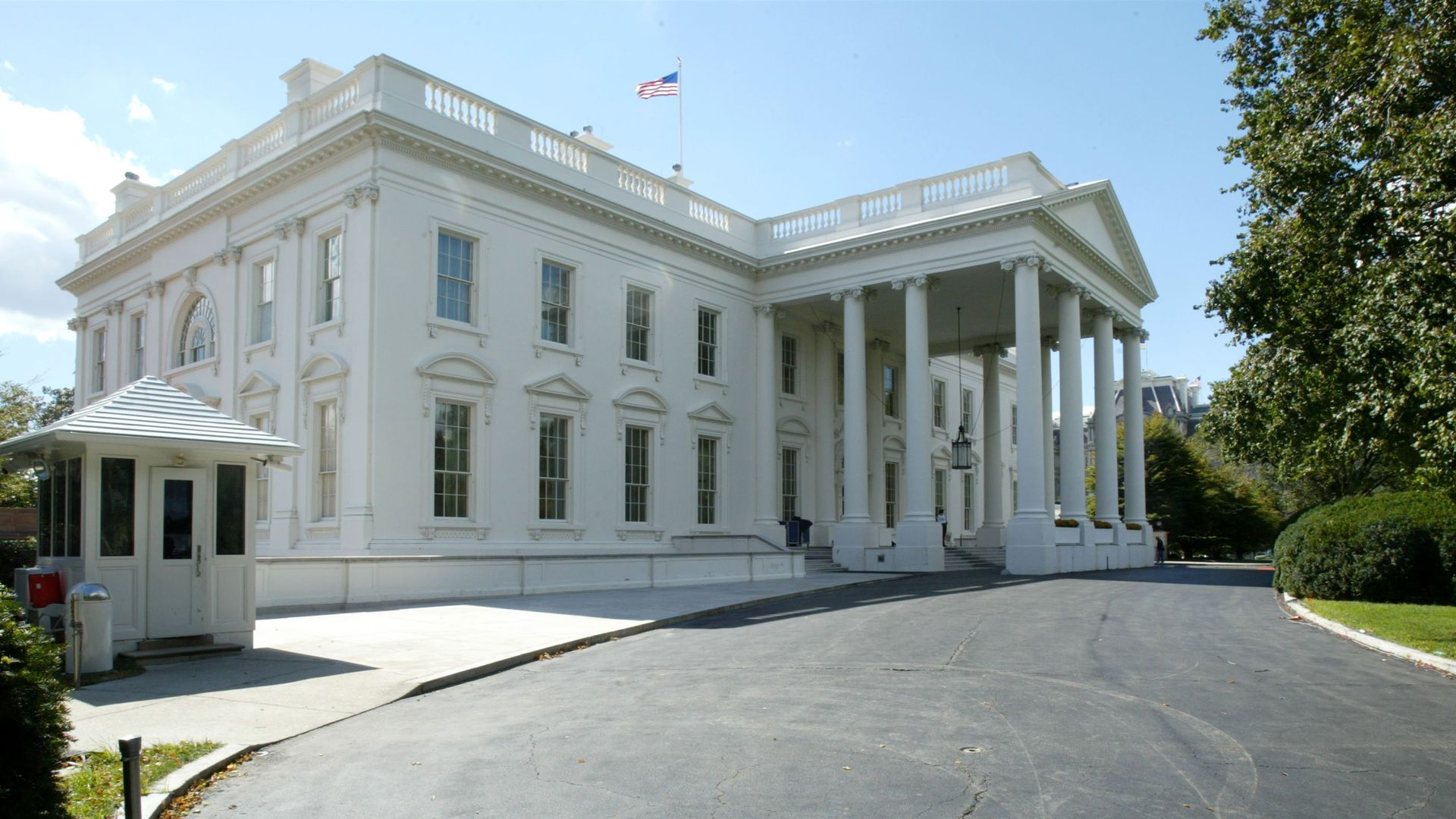The exterior of the White House building.