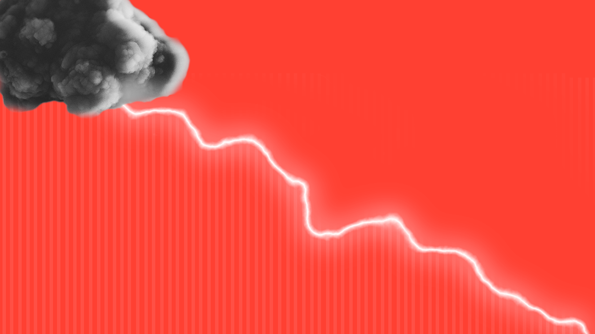 Illustration of a lightening bolt in the shape of a downward trending market line.
