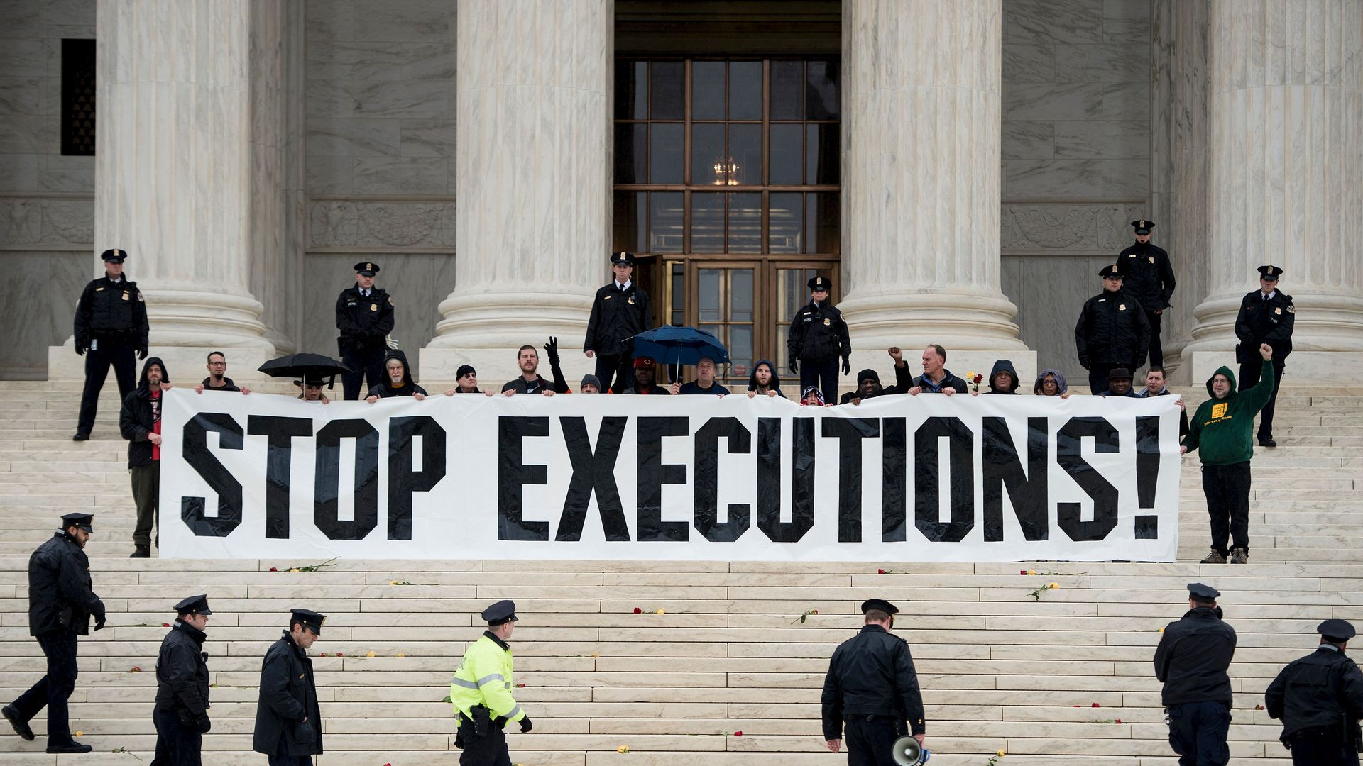 Stop execution sign on the steps of the Supreme Court