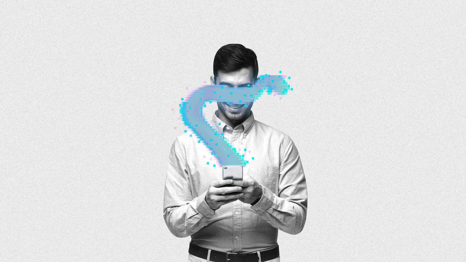 In this image, a man holds a smartphone and a digital line emitted from the phone covers his eyes.