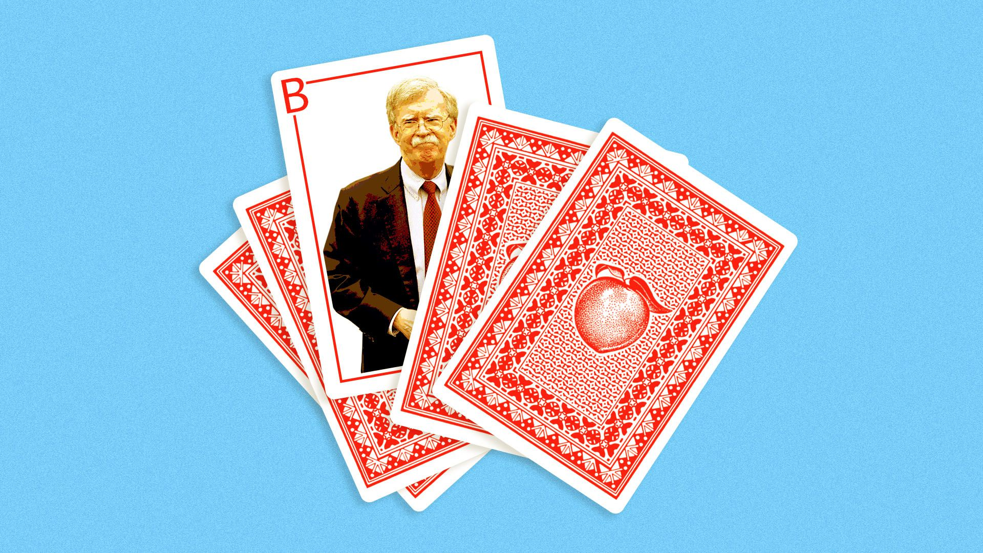 Illustration of a deck of playing cards with a peach design on them, with one turned over featuring John Bolton.