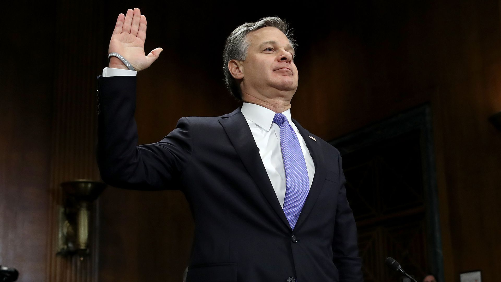 Wray being sworn in.
