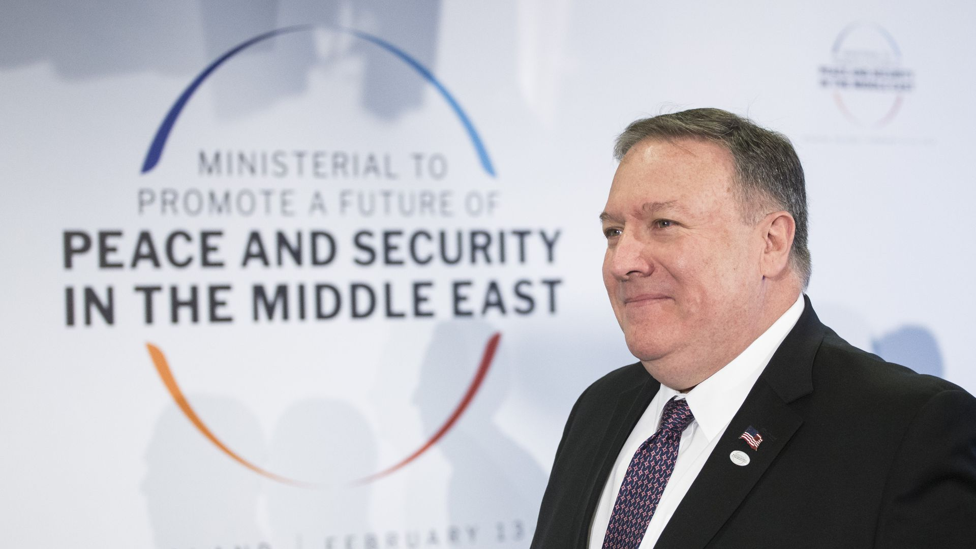 Mike Pompeo during Peace and Security in the Middle East conference in Warsaw on February 14, 2019.