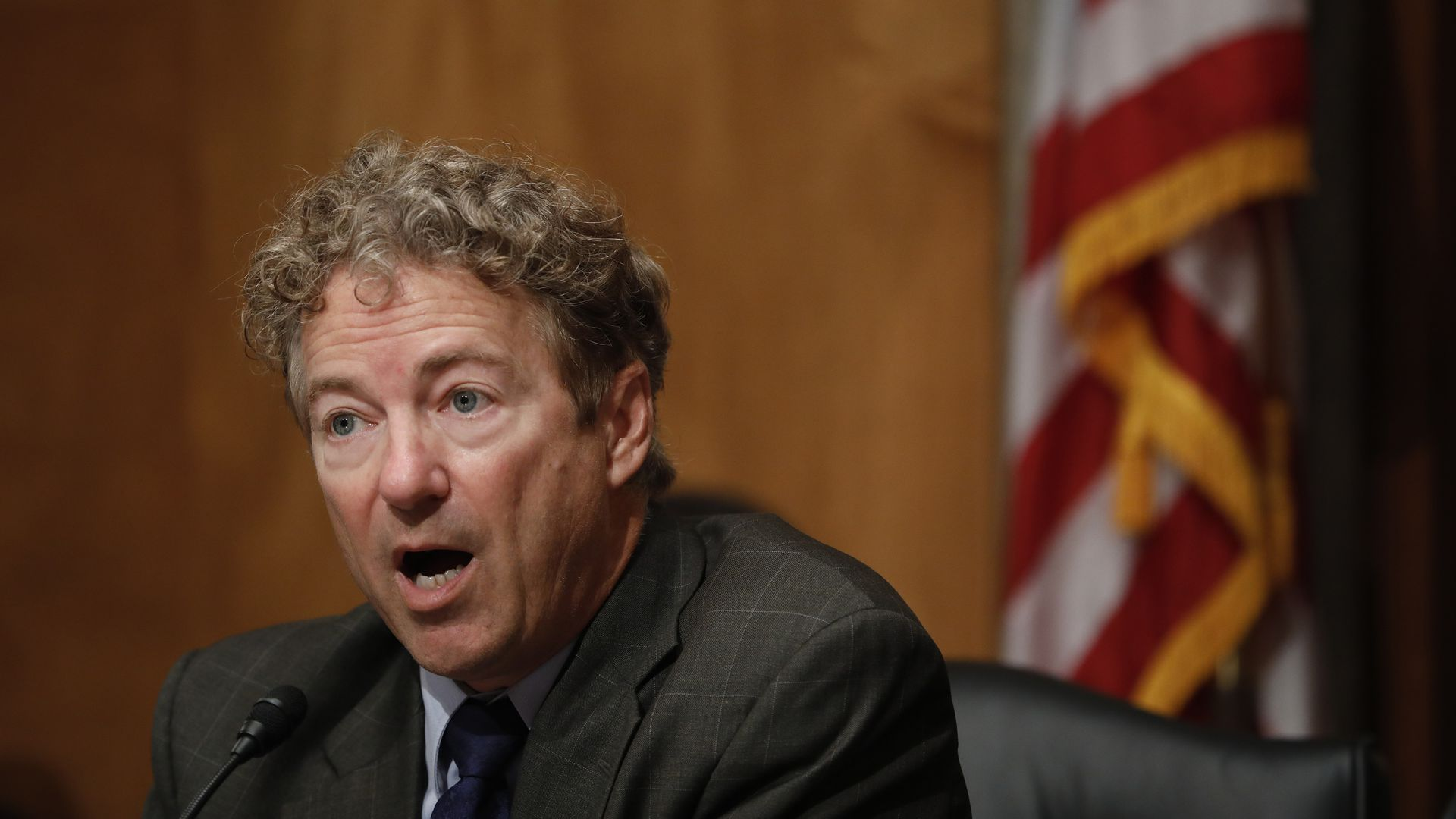 Senator Rand Paul speaking at a hearing.