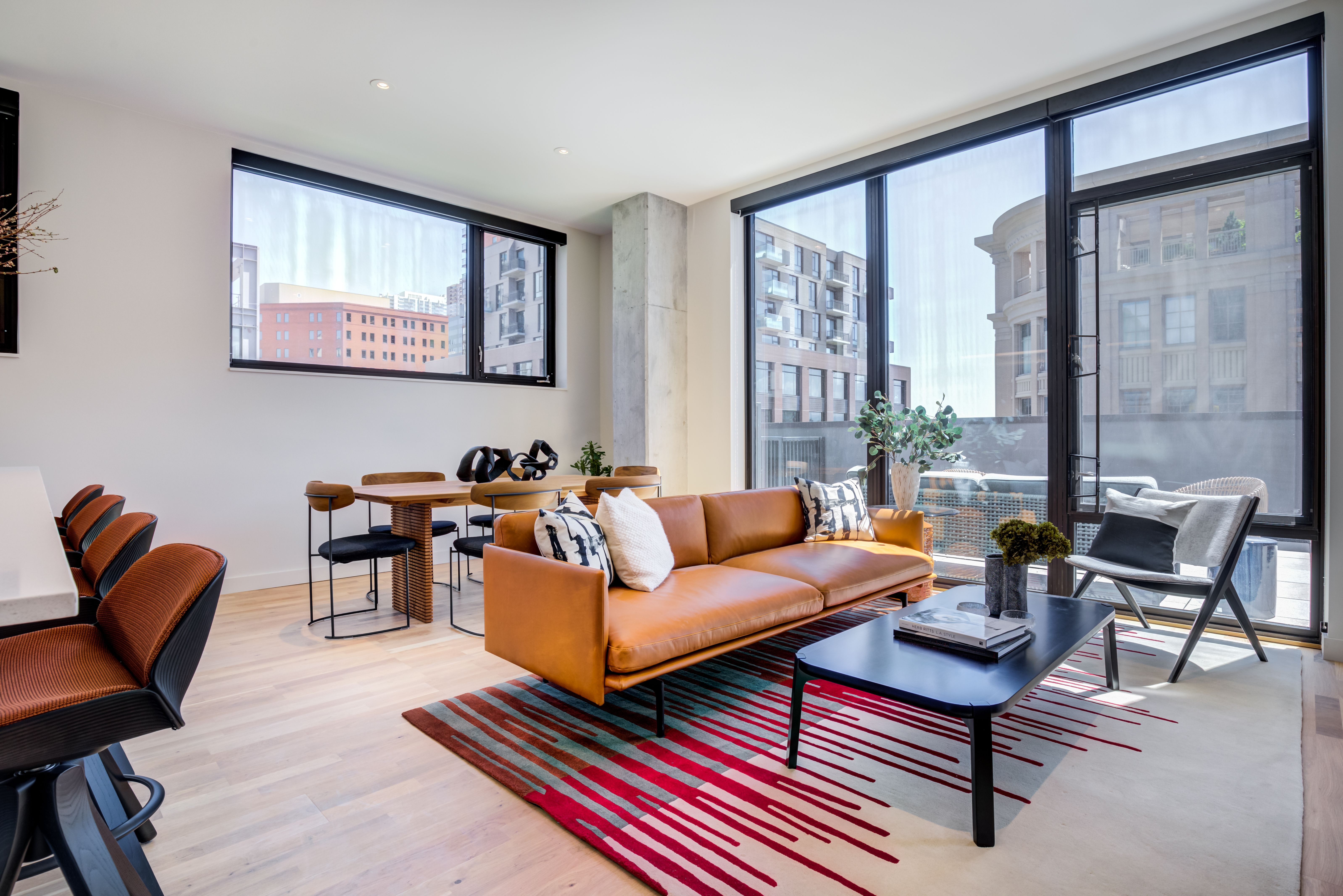 Residences at Market Station living room and views