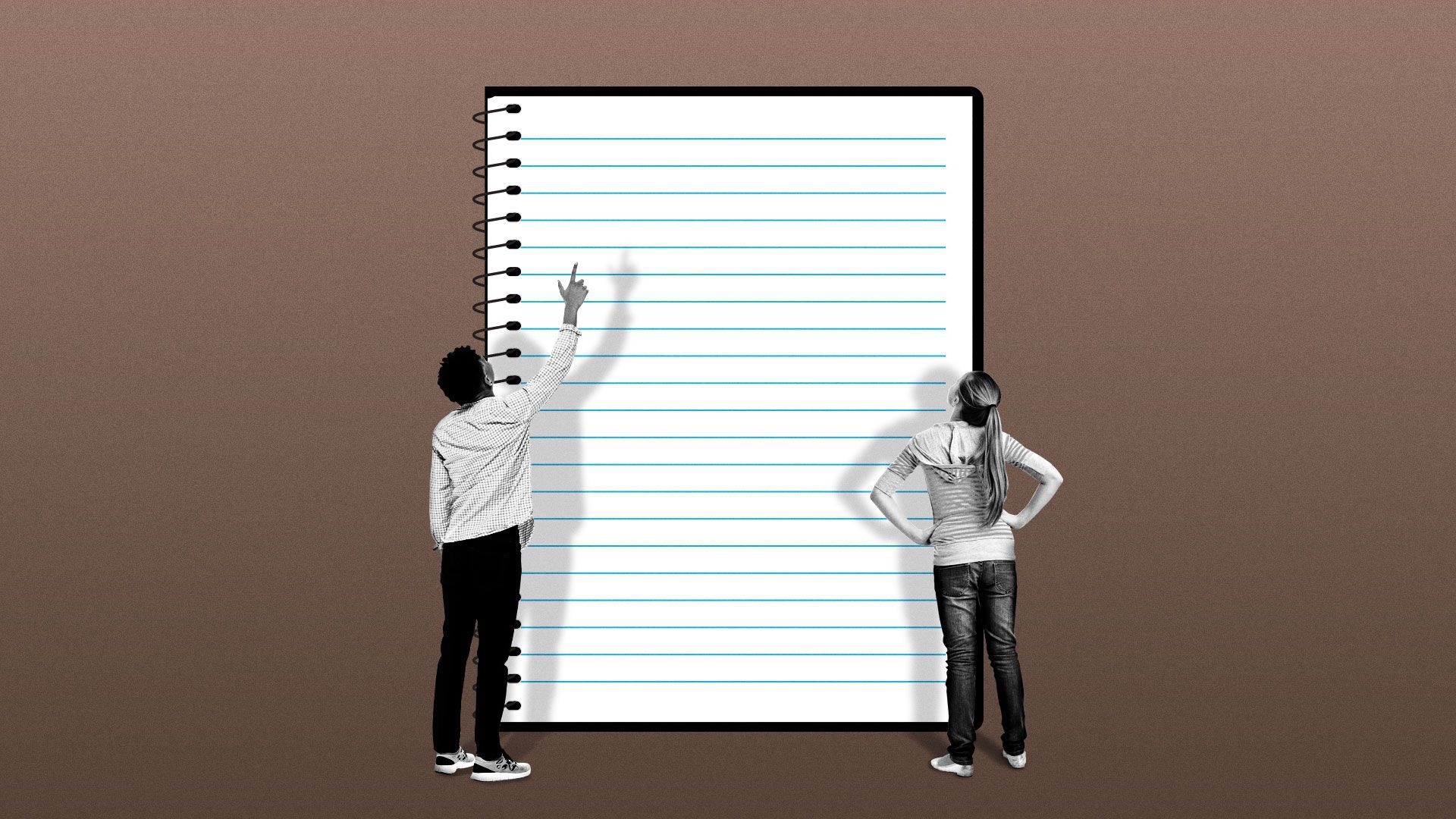 Illustration of two people divided by a school notebook, one black student pointing one while the white student looks up with arms on her hips