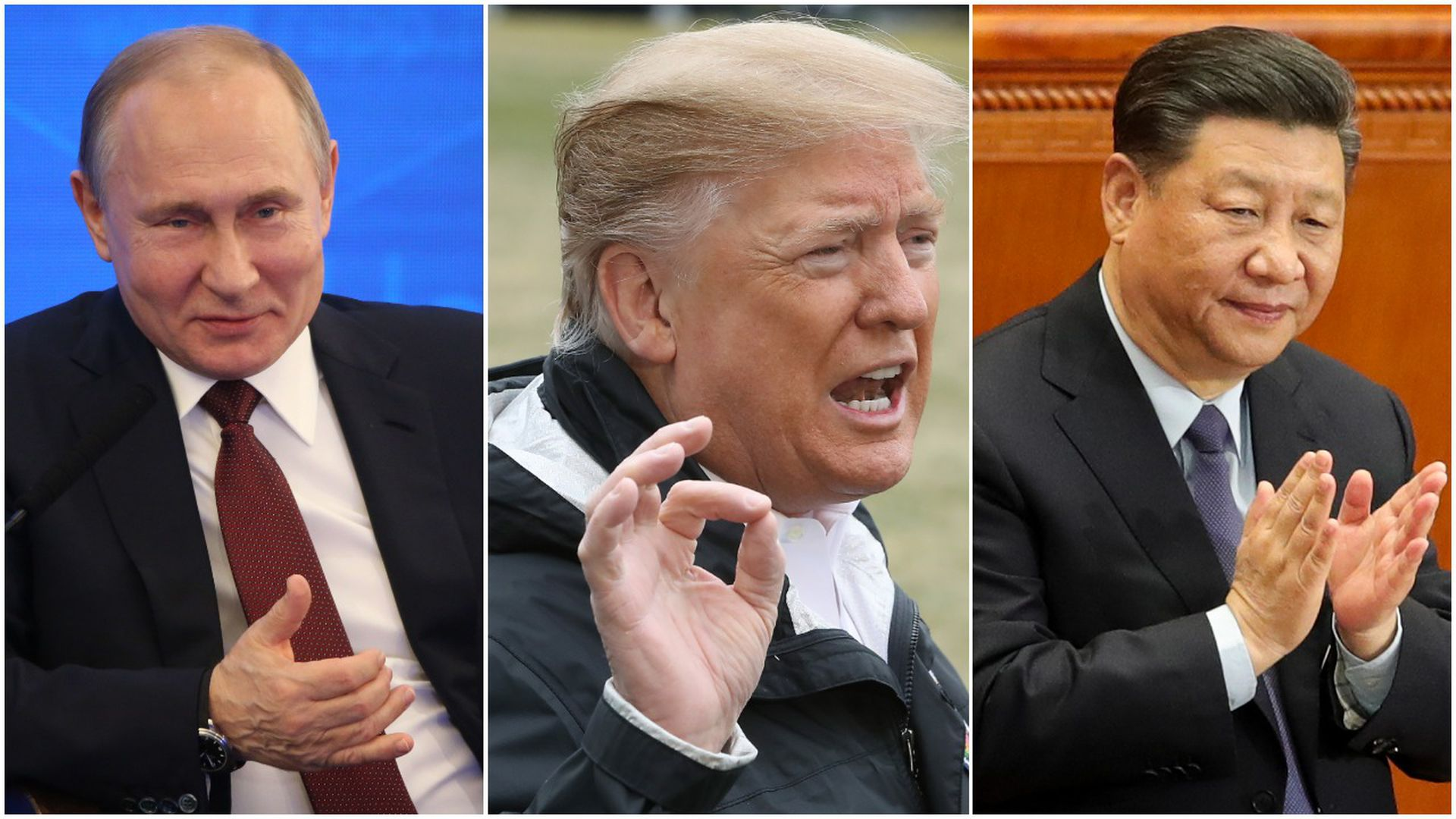 A three-way split screen of President Trump, Vladimir Putin and Xi Jinping.