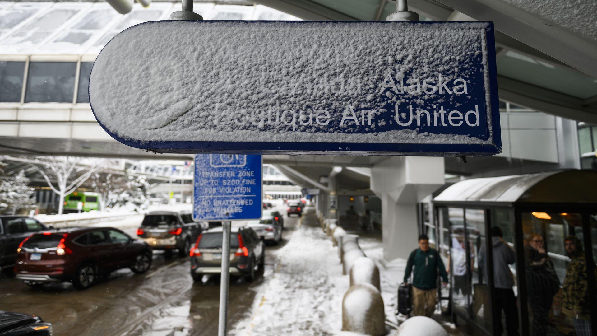 Minneapolis-St. Paul International Airport after a blizzard struck overnight in Bloomington, Minnesota.