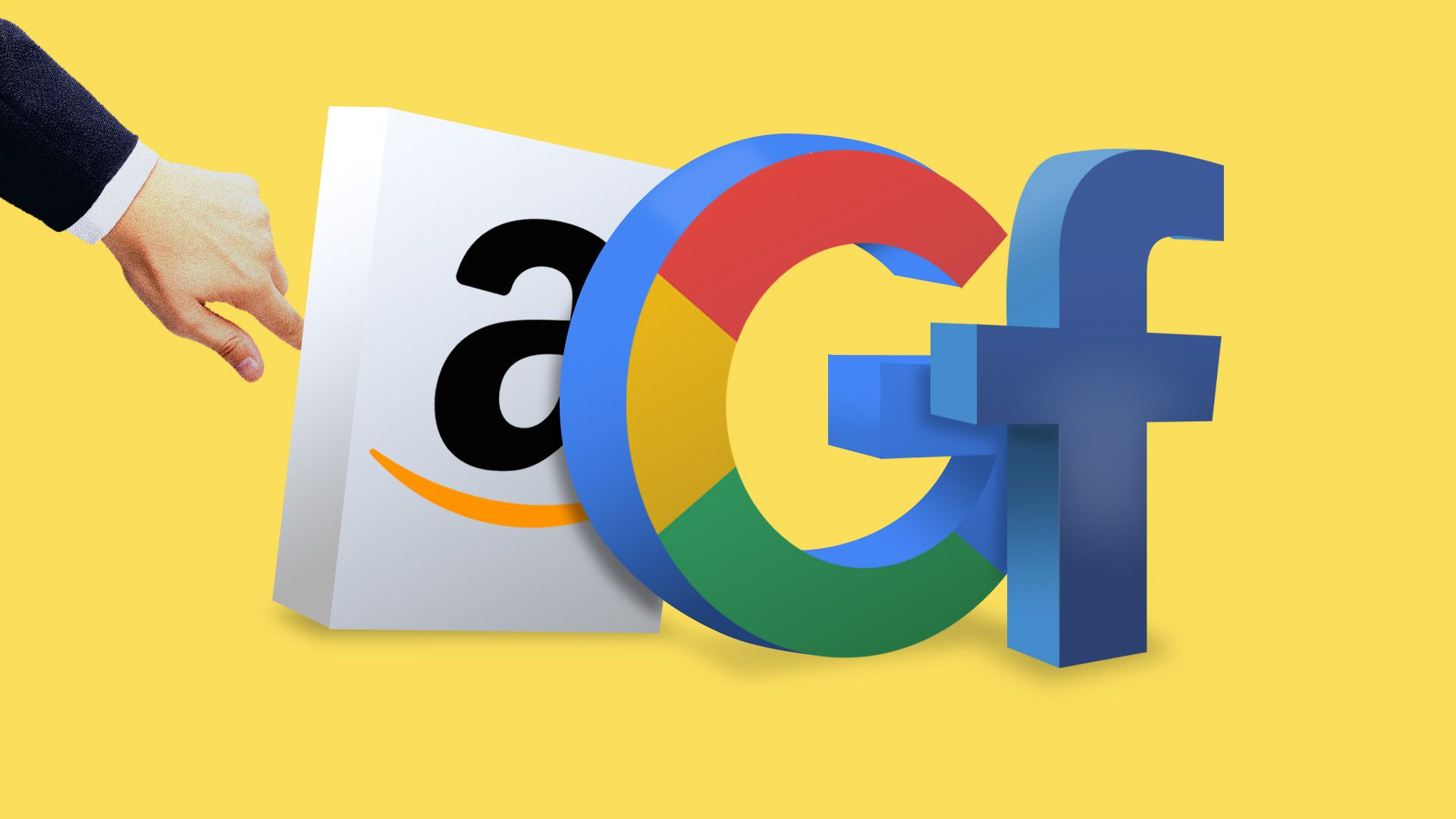Illustration of a lawyer's hand reaching out to logos of Amazon, Google, Facebook