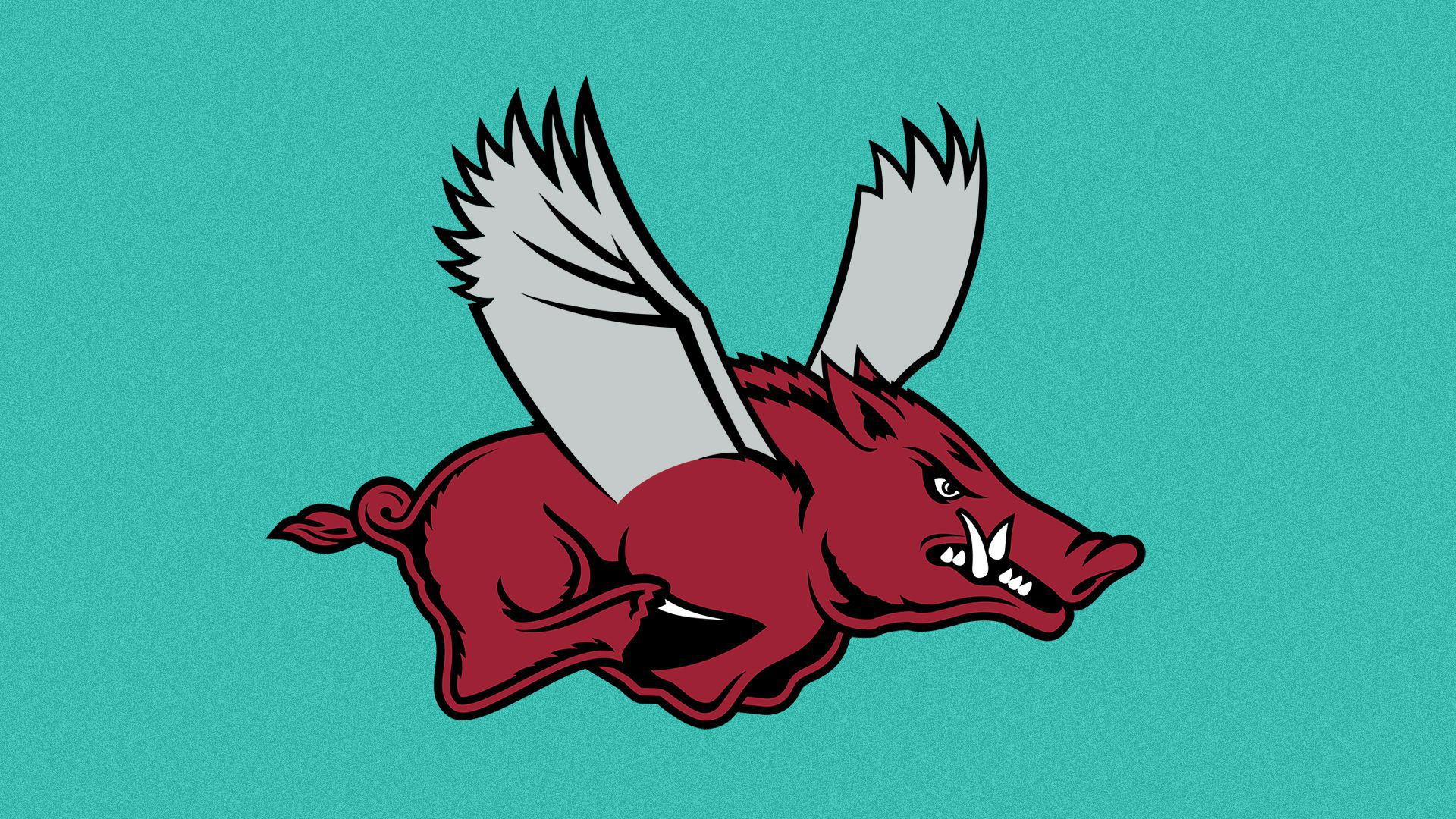 Illustration of the University of Arkansas Razorback logo with wings added.