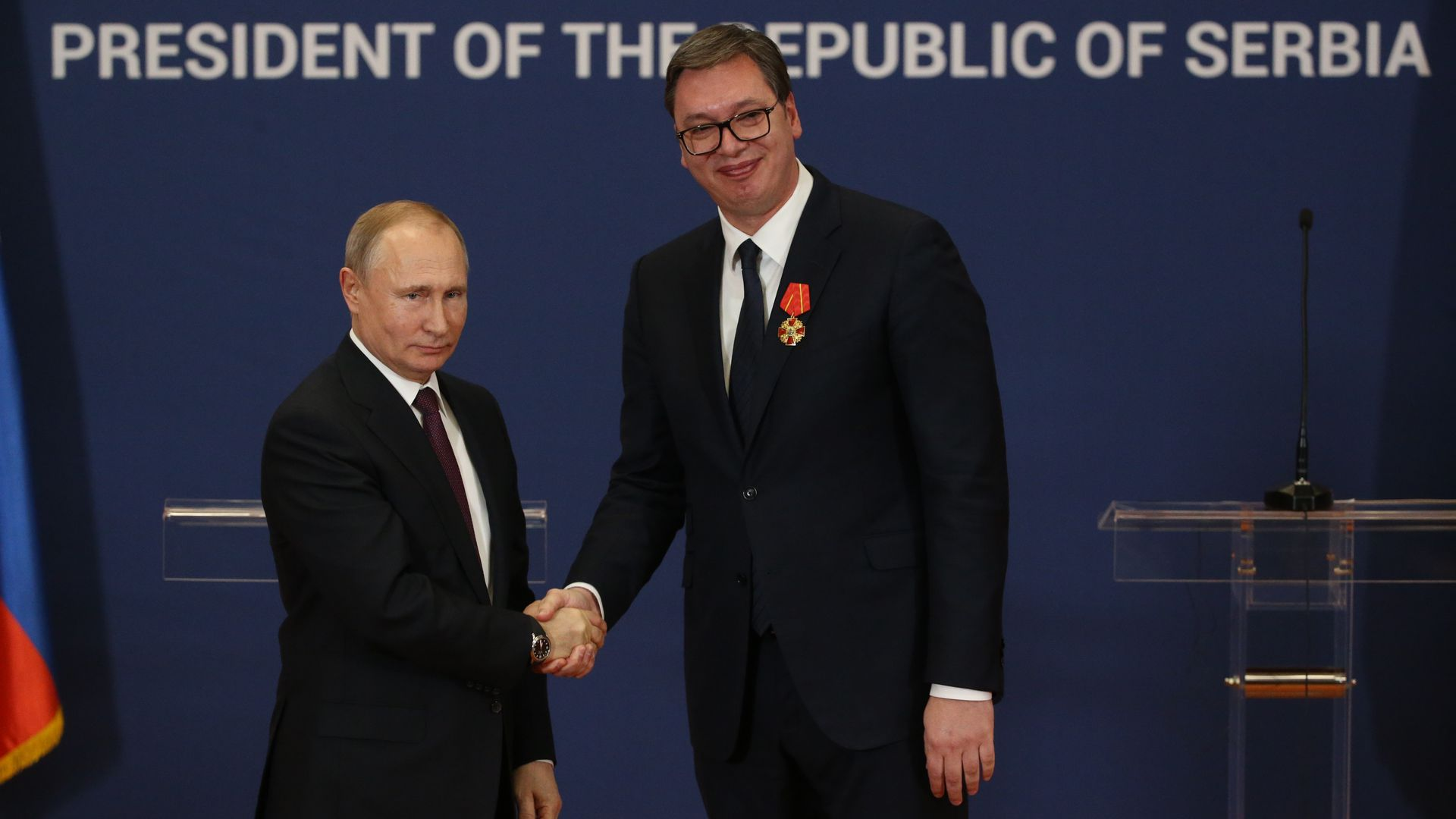 Russian President Vladimir Putin shakes hands with Serbian President Aleksandar Vucic during their meeting at the Presidential Administration on January 17, 2018 in Belgrade, Serbia.