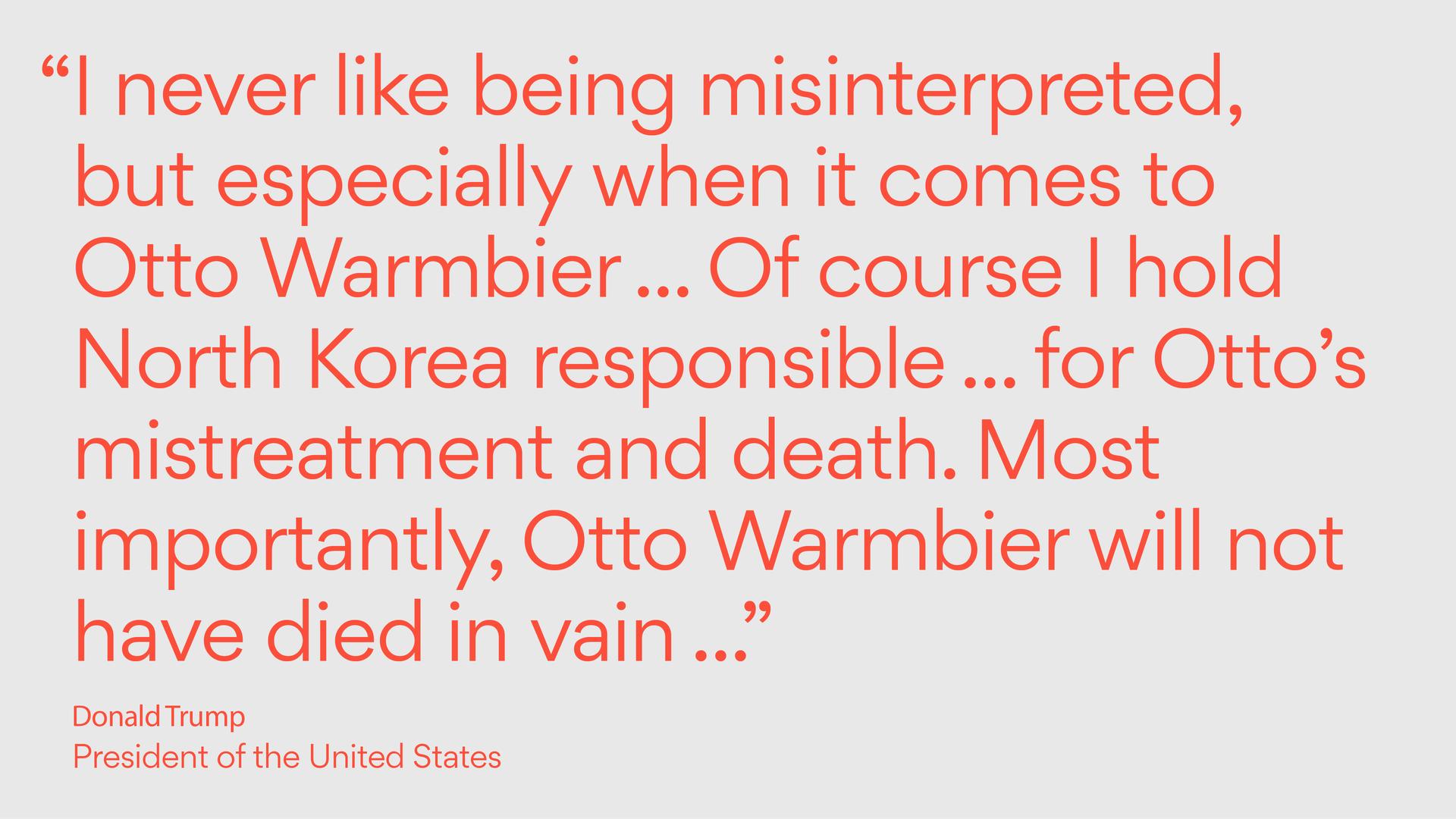 Trump quote on Otto Warmbier