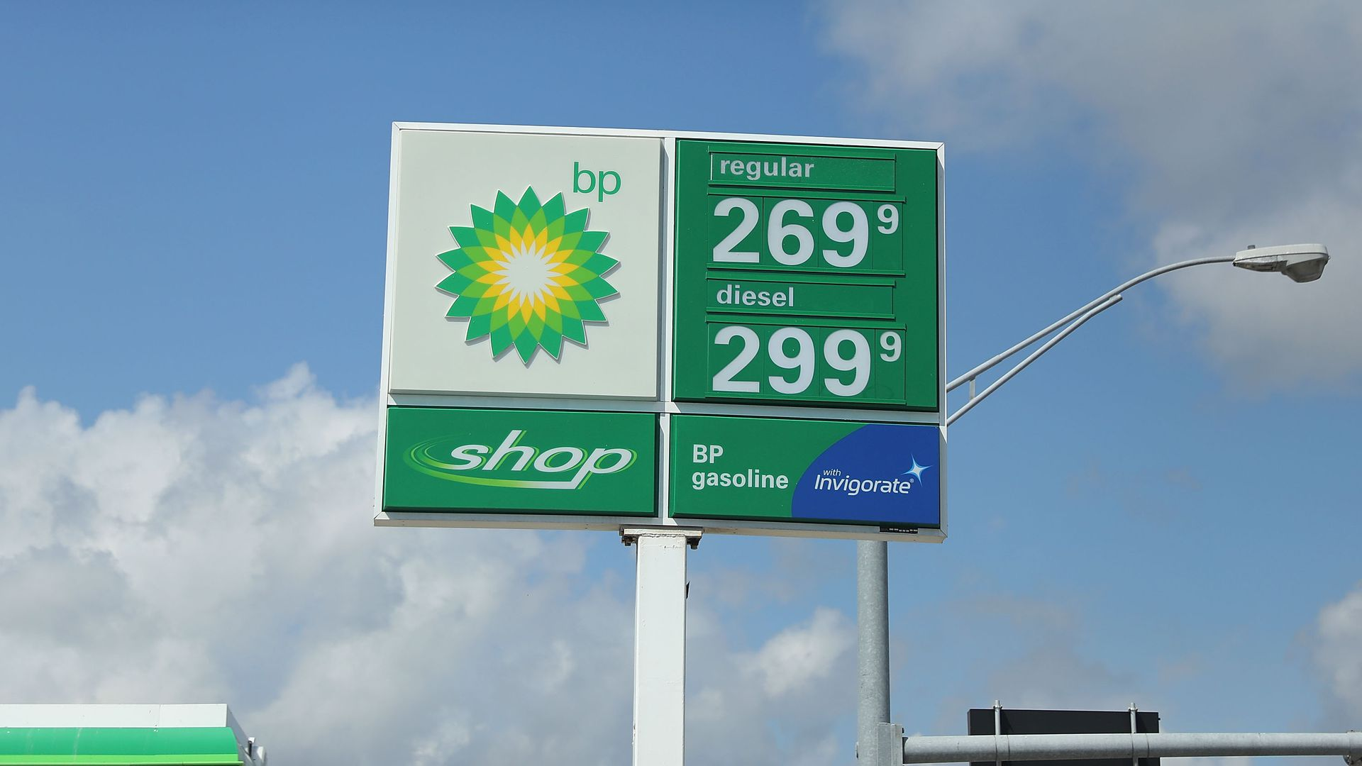A sign showing gas prices in 2014.